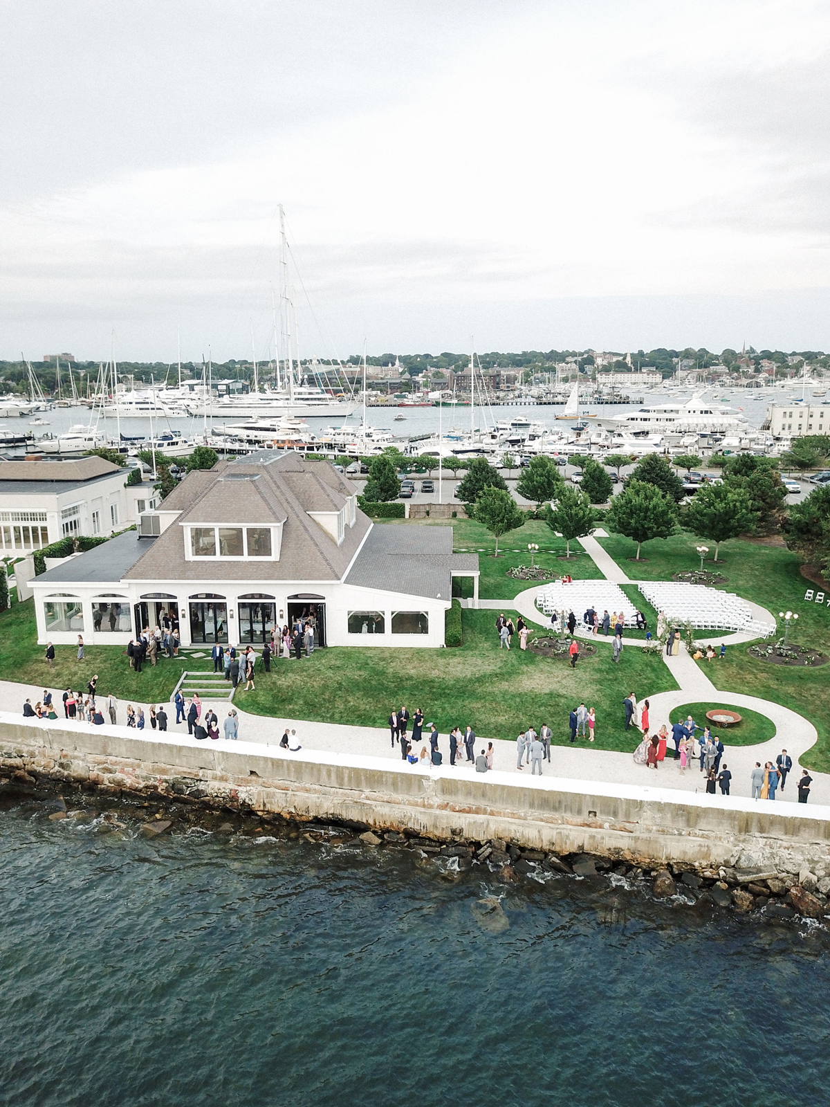 colleen stephen newport wedding cocktail hour at harbor
