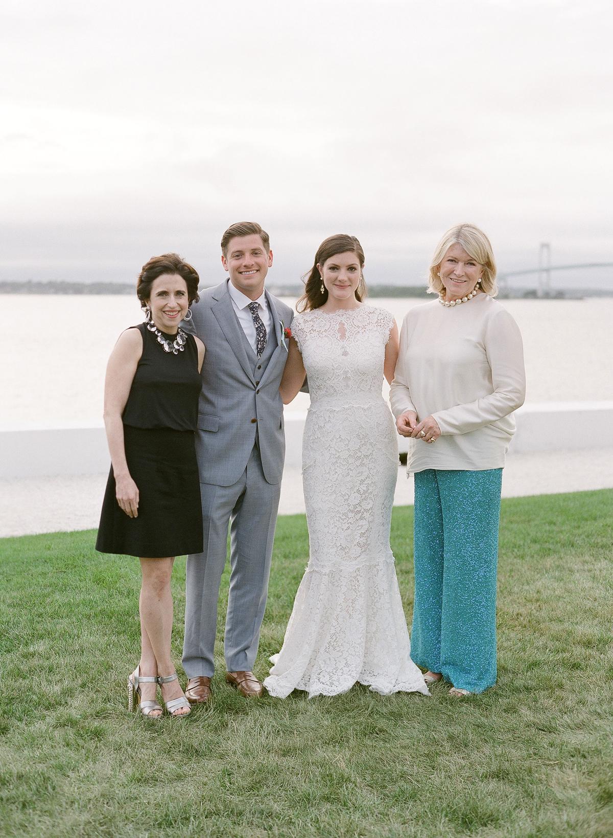 colleen stephen newport wedding couple with martha stewart and darcy miller nussbaum