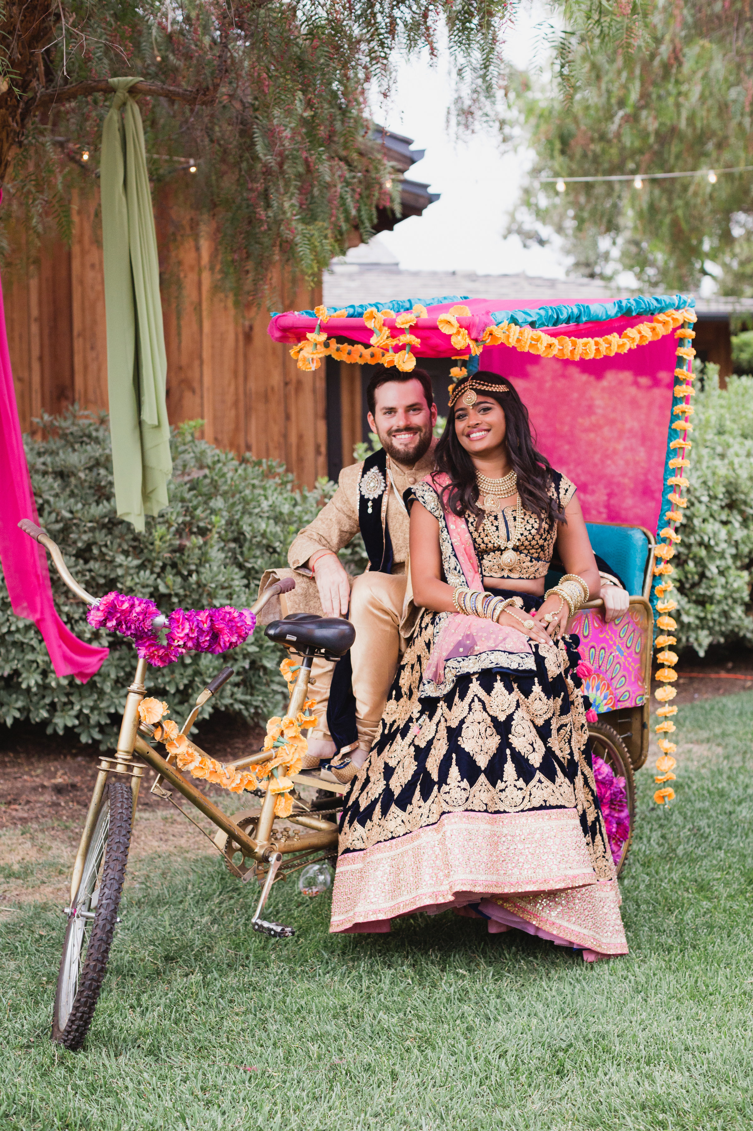 california indian jewish wedding bike cart prop