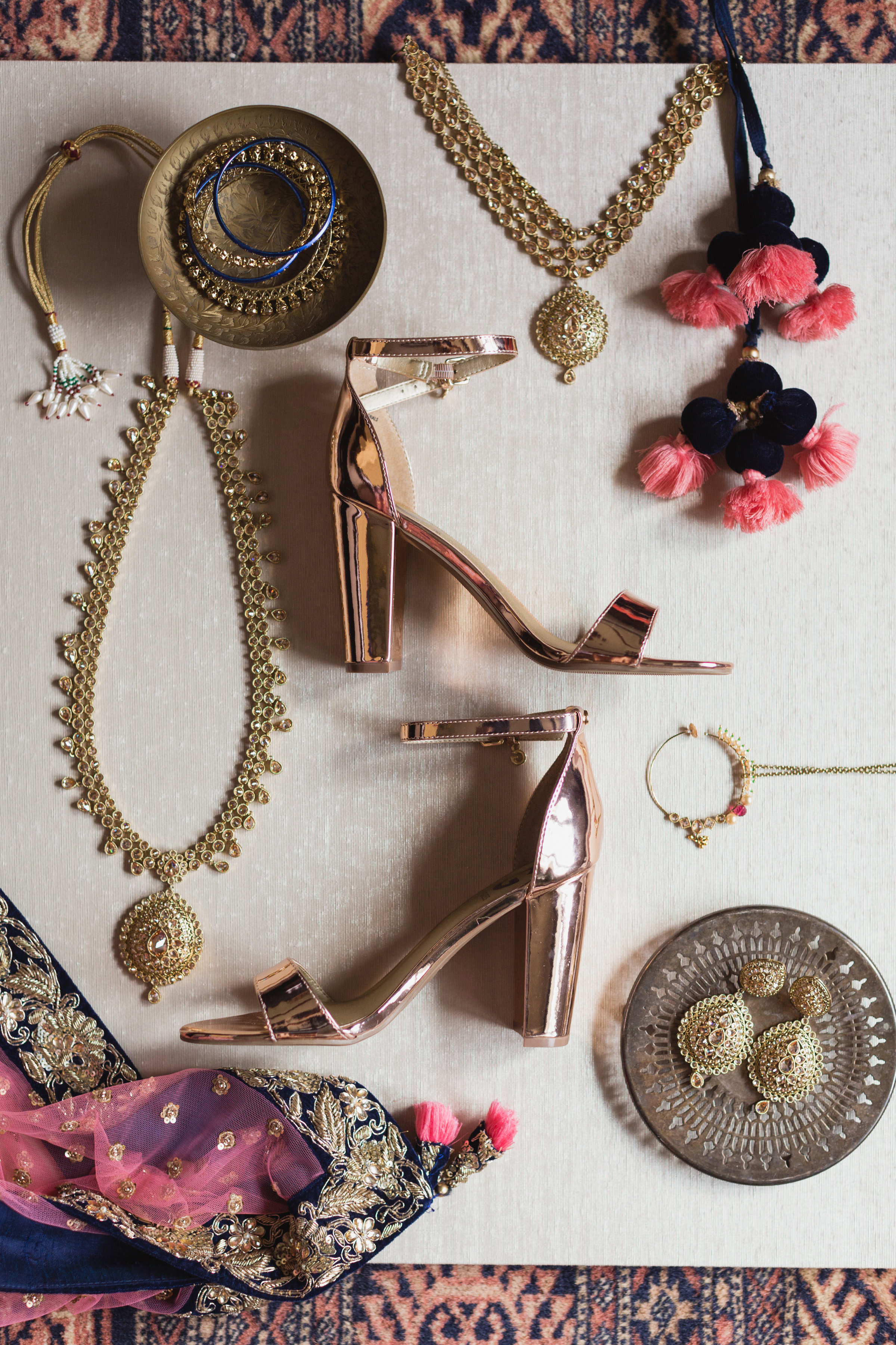 bridal accessories flatlay
