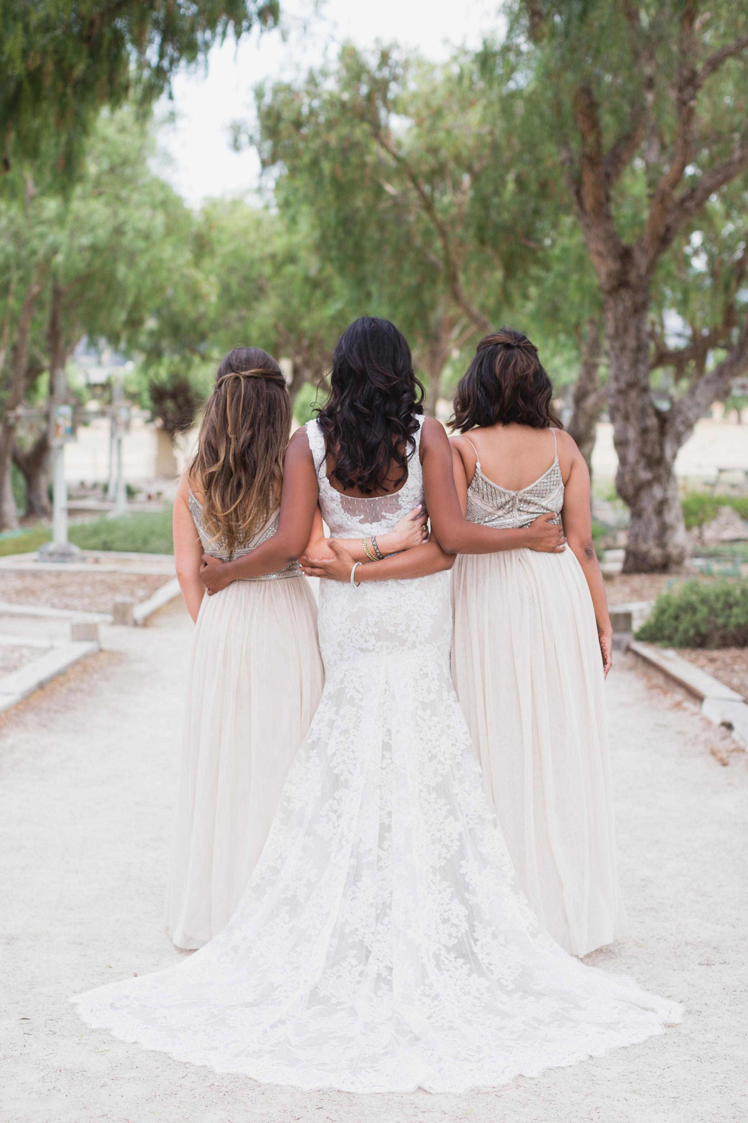 california indian jewish wedding bridesmaids portrait