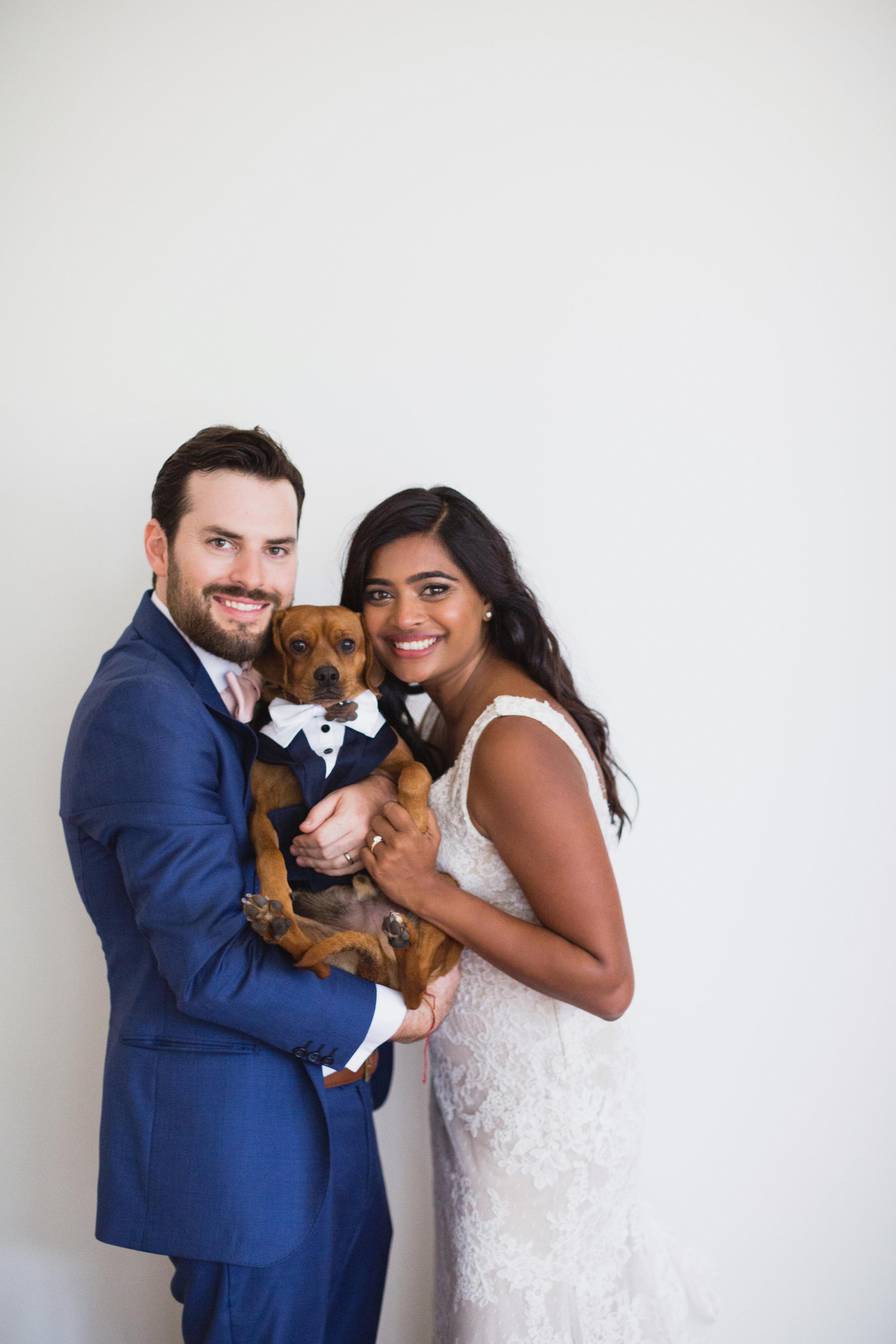 california indian jewish wedding couple dog portrait
