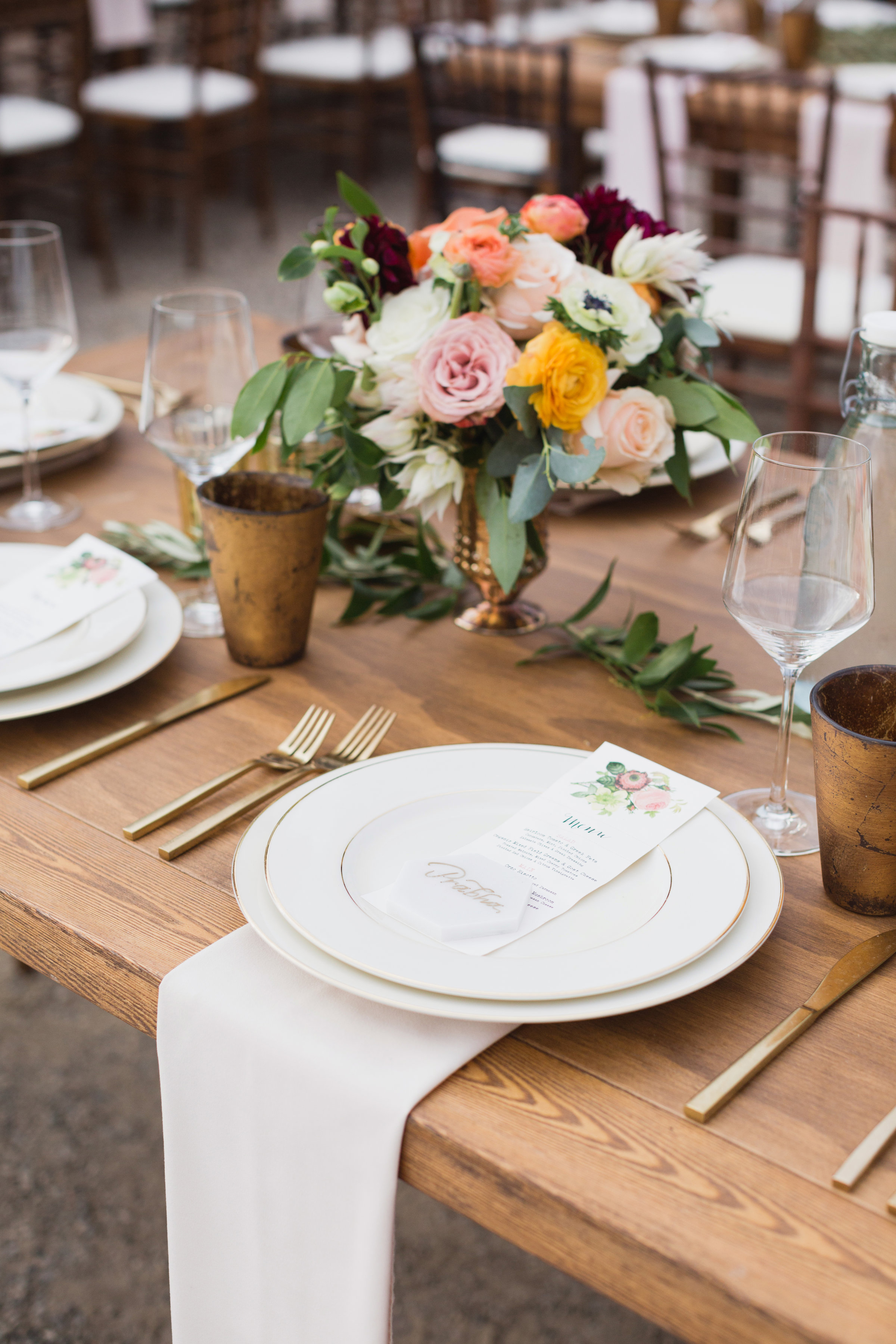 california indian jewish wedding reception placesetting