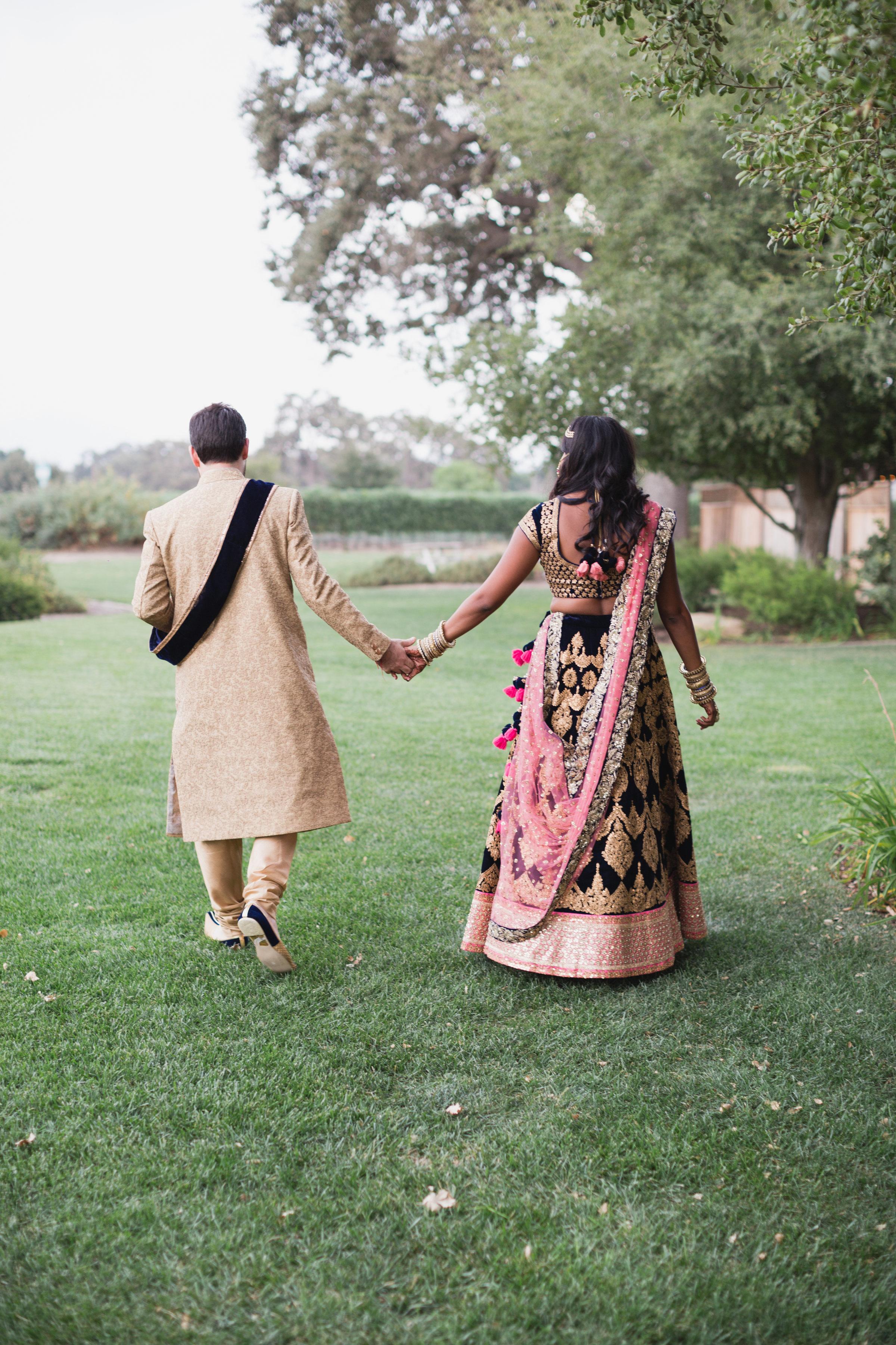 california indian jewish wedding couple portrait holding hands