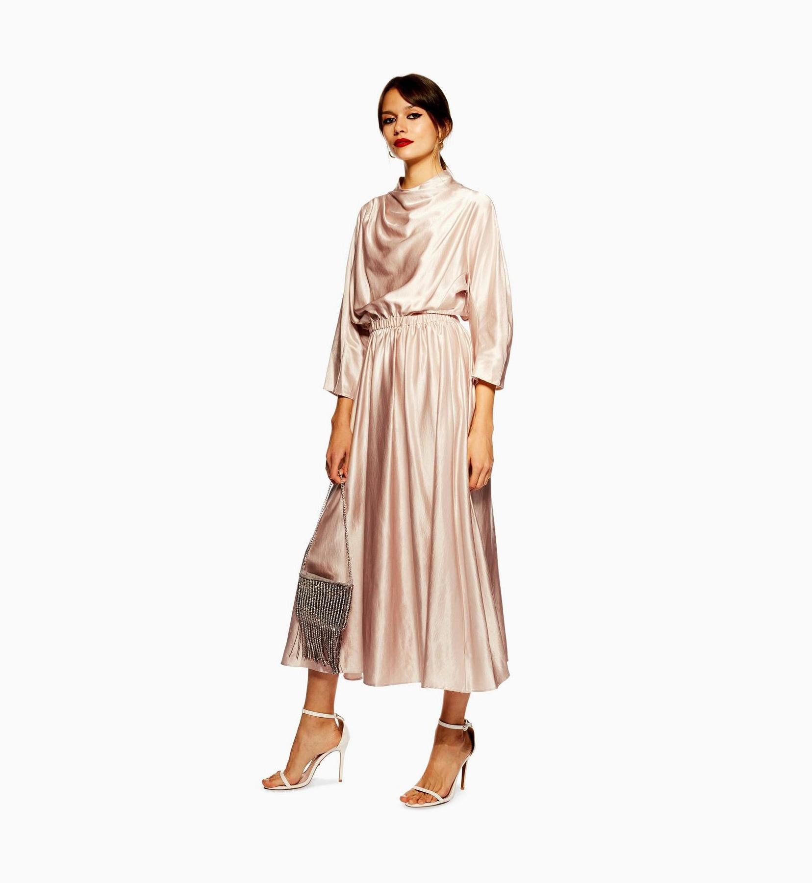 topshop light pink silk winter dress