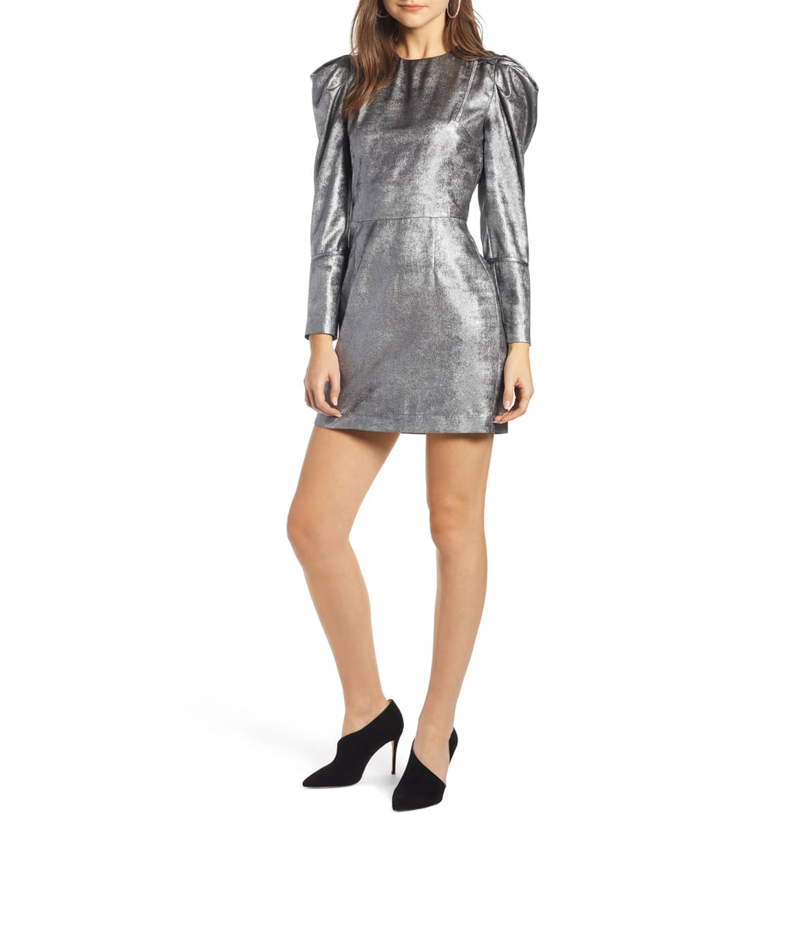 silver short something navy dress with puffed long sleeves
