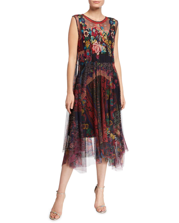 johnny was multi-colored dress with midi hemline