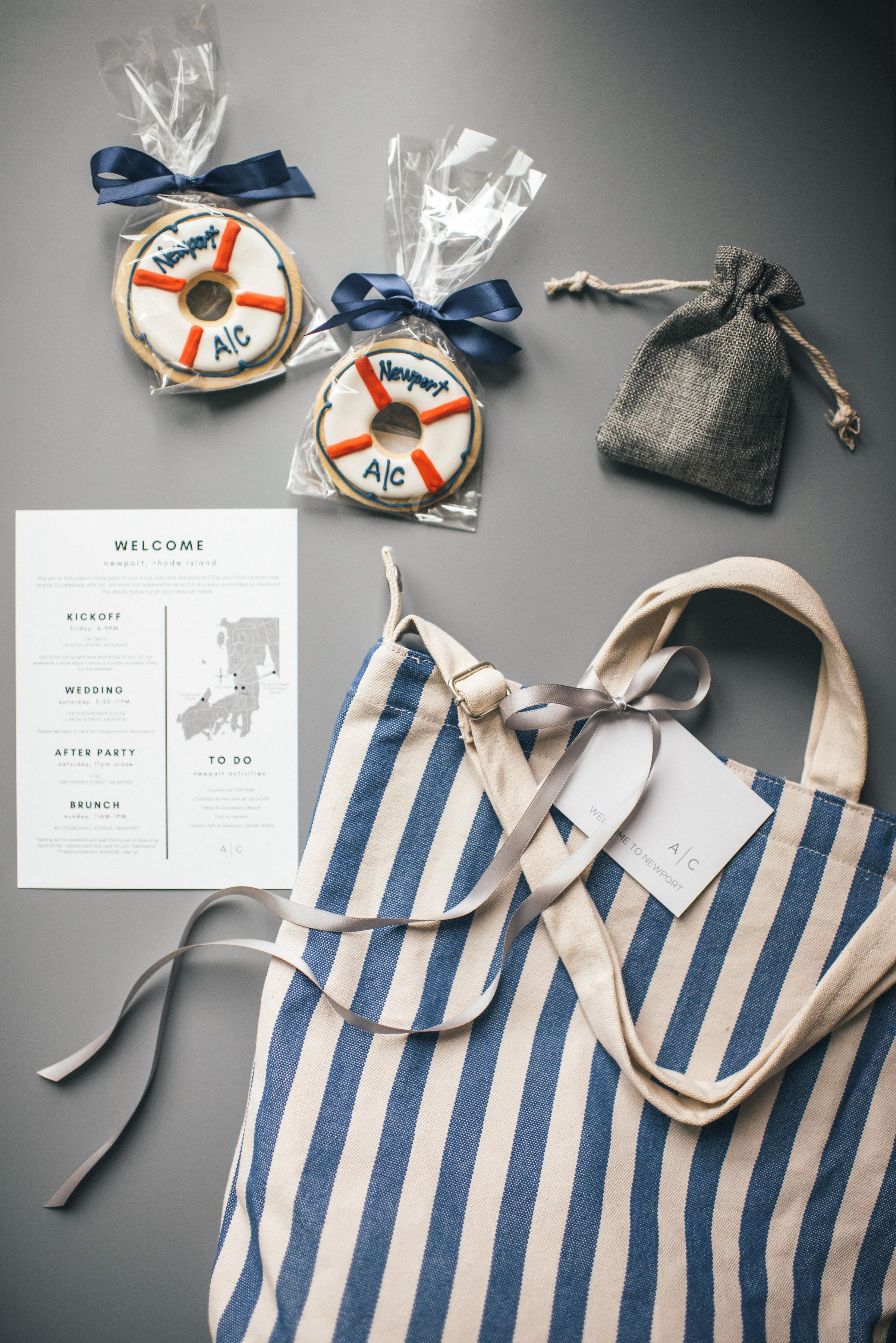 wedding welcome bag area map cookies