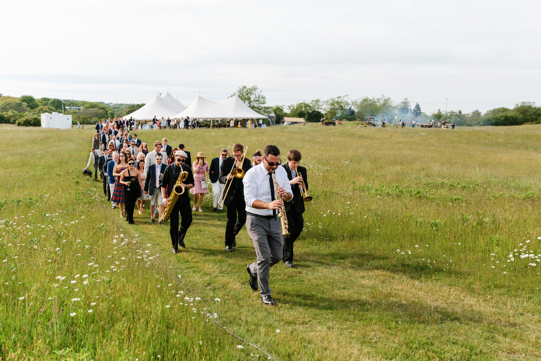 molly ed wedding processional parade led by band
