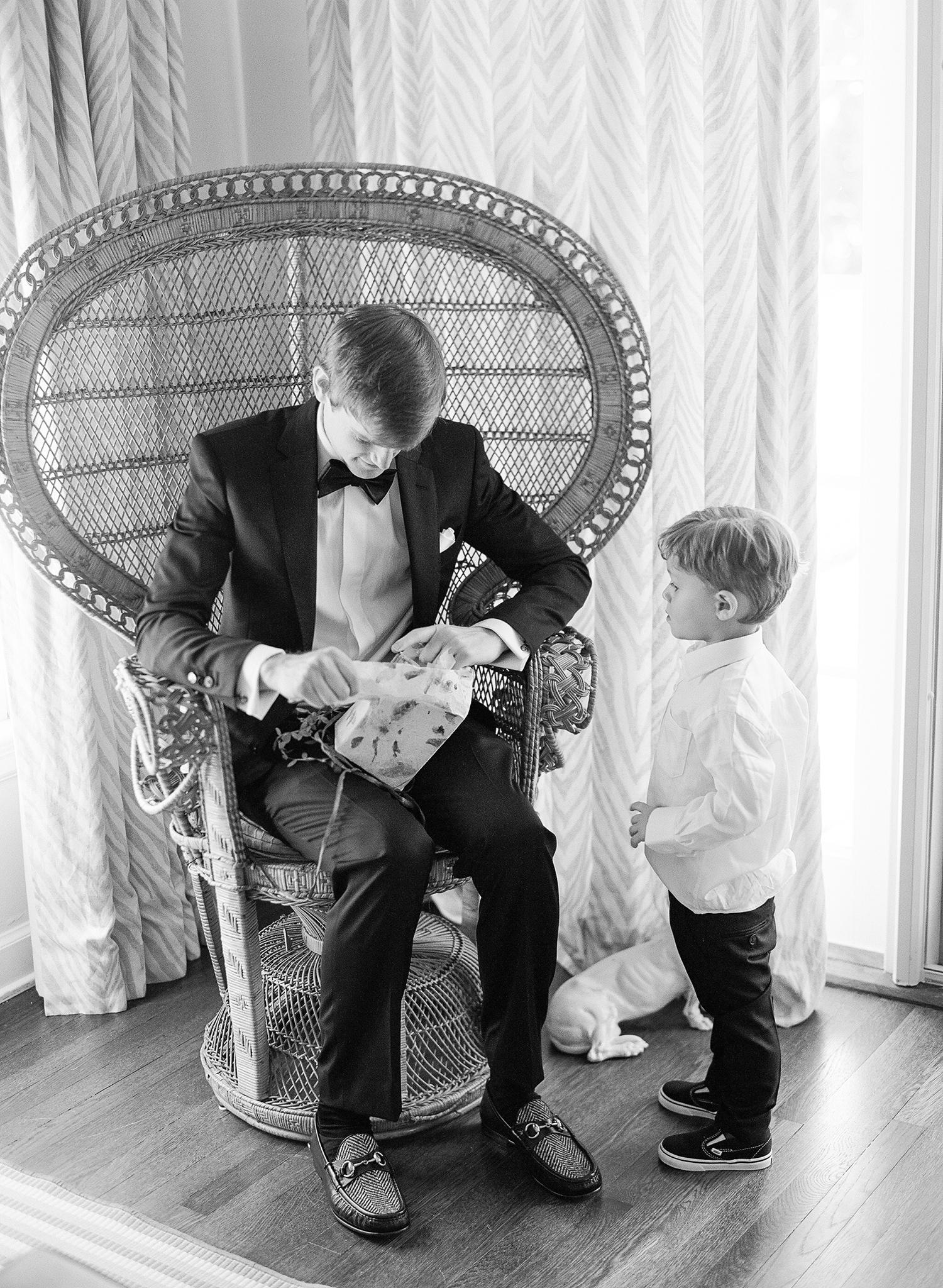 chelsea conor wedding groom getting ready gift