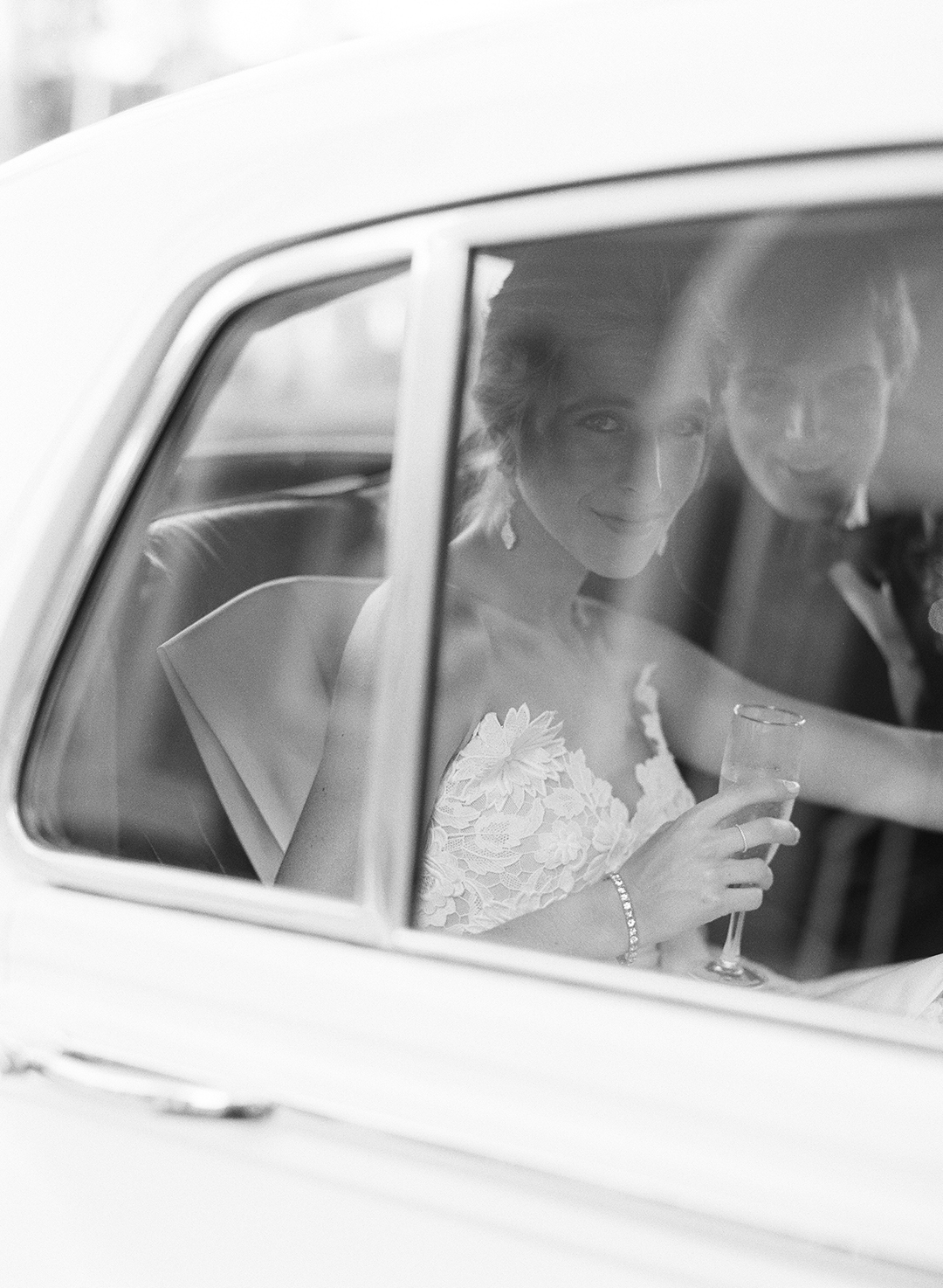 chelsea conor wedding couple in car