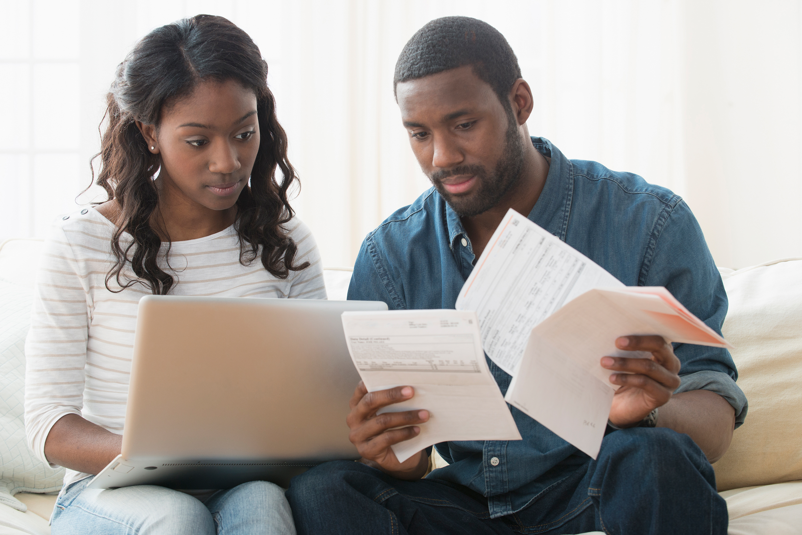 Couple Paying Bills, Handling Money