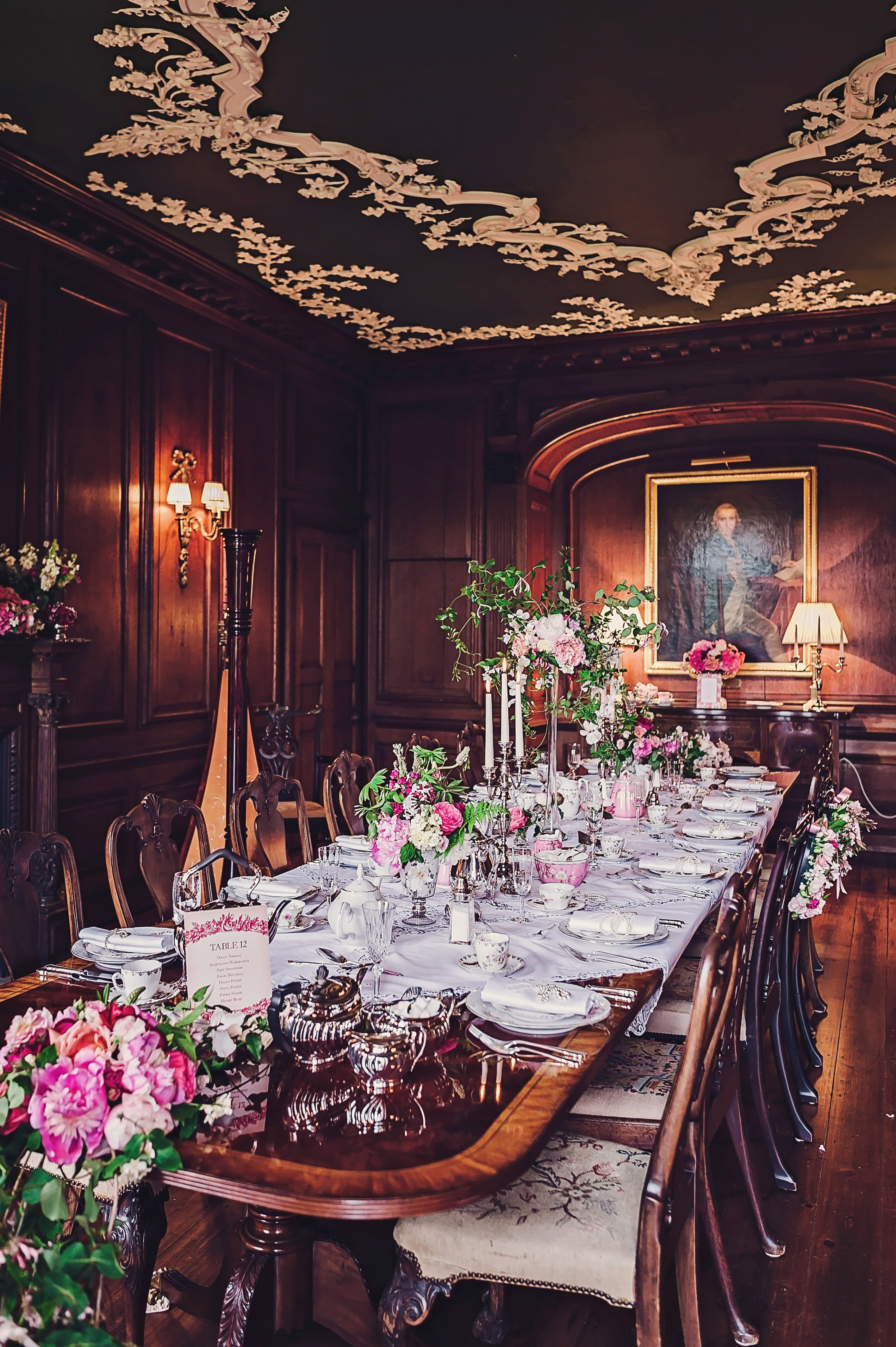 victorian-inspired wedding tablescape with pink centerpieces