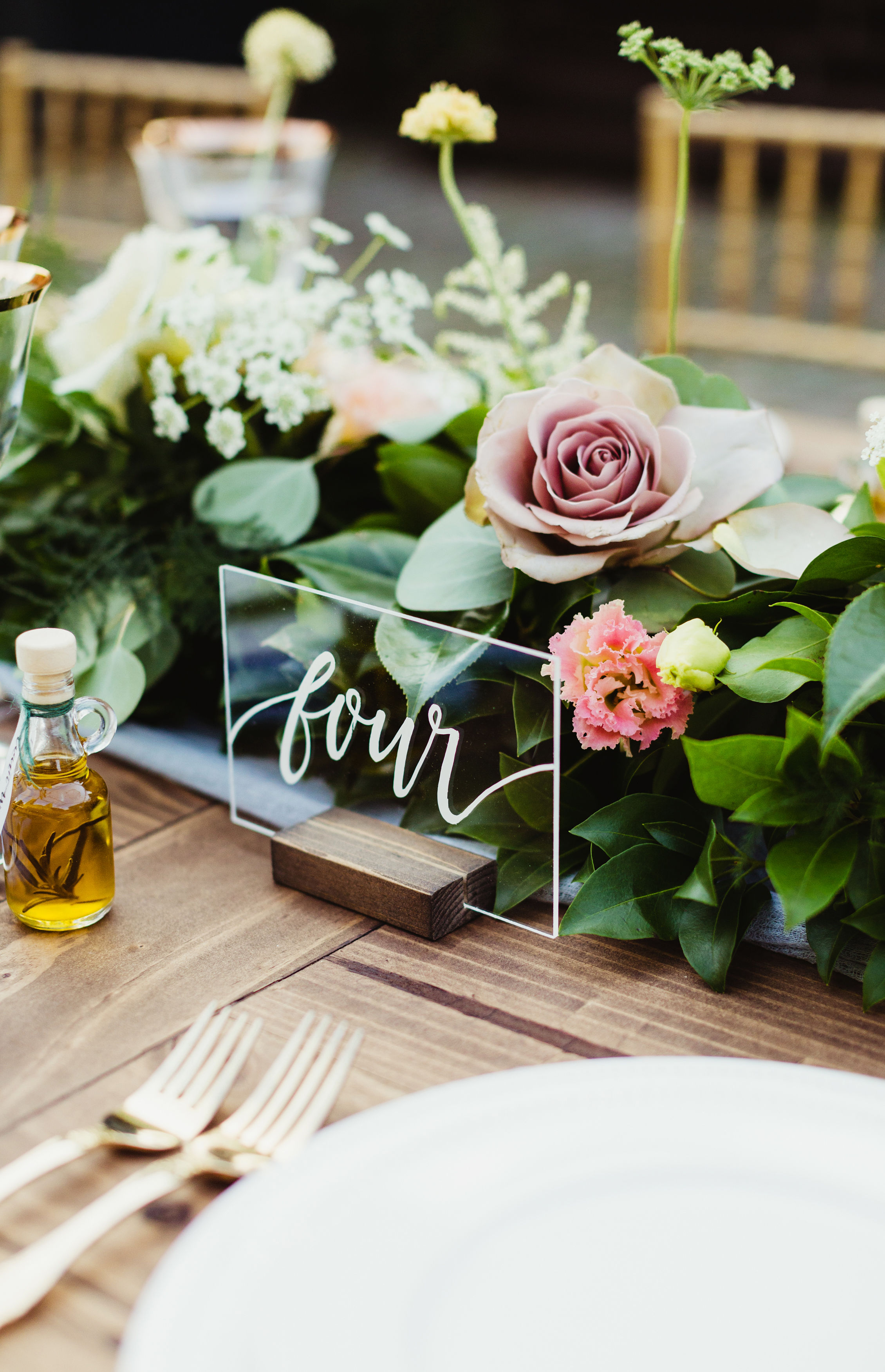 calligraphed acrylic table number