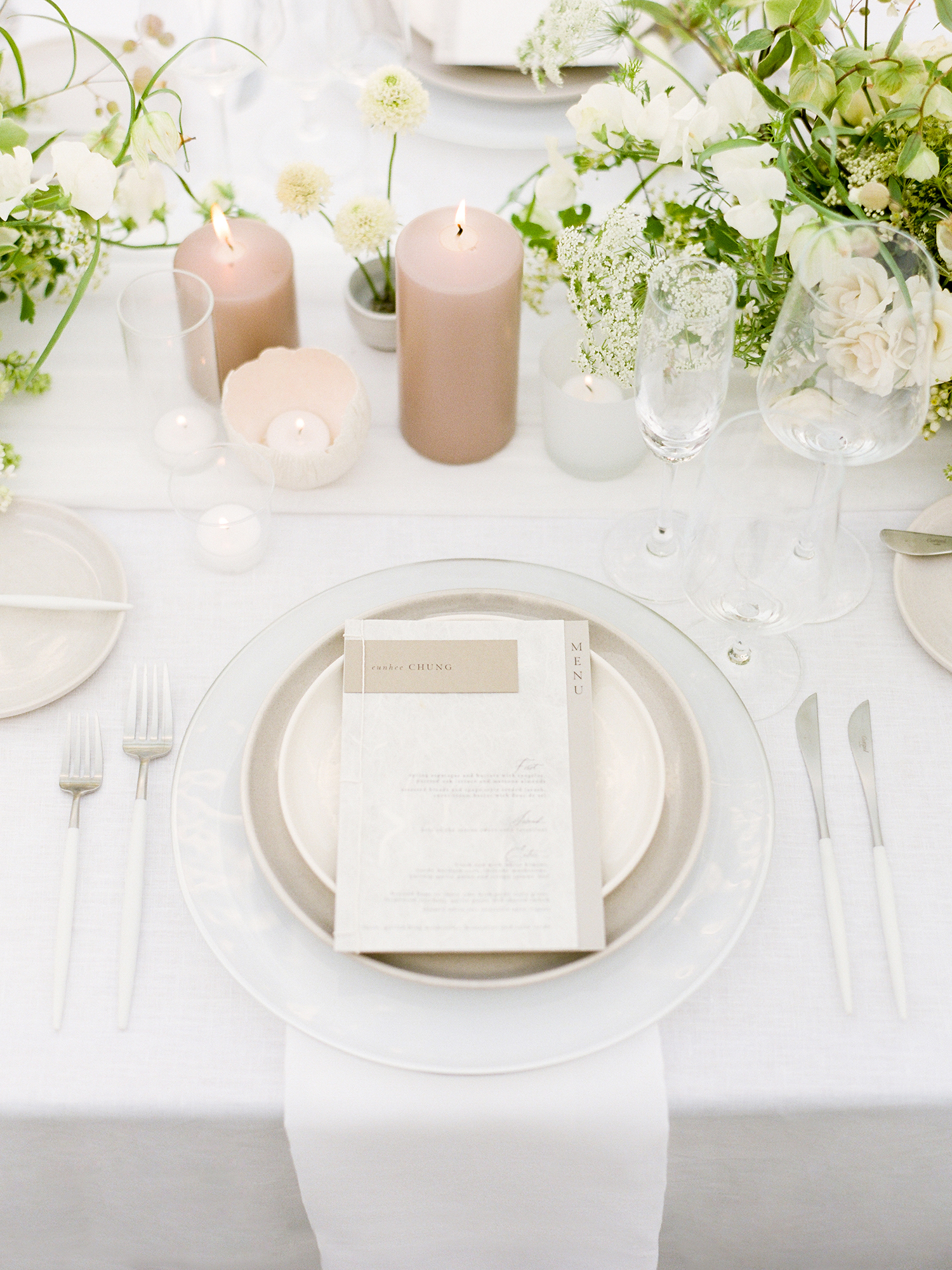 grace ceron wedding place setting and candles