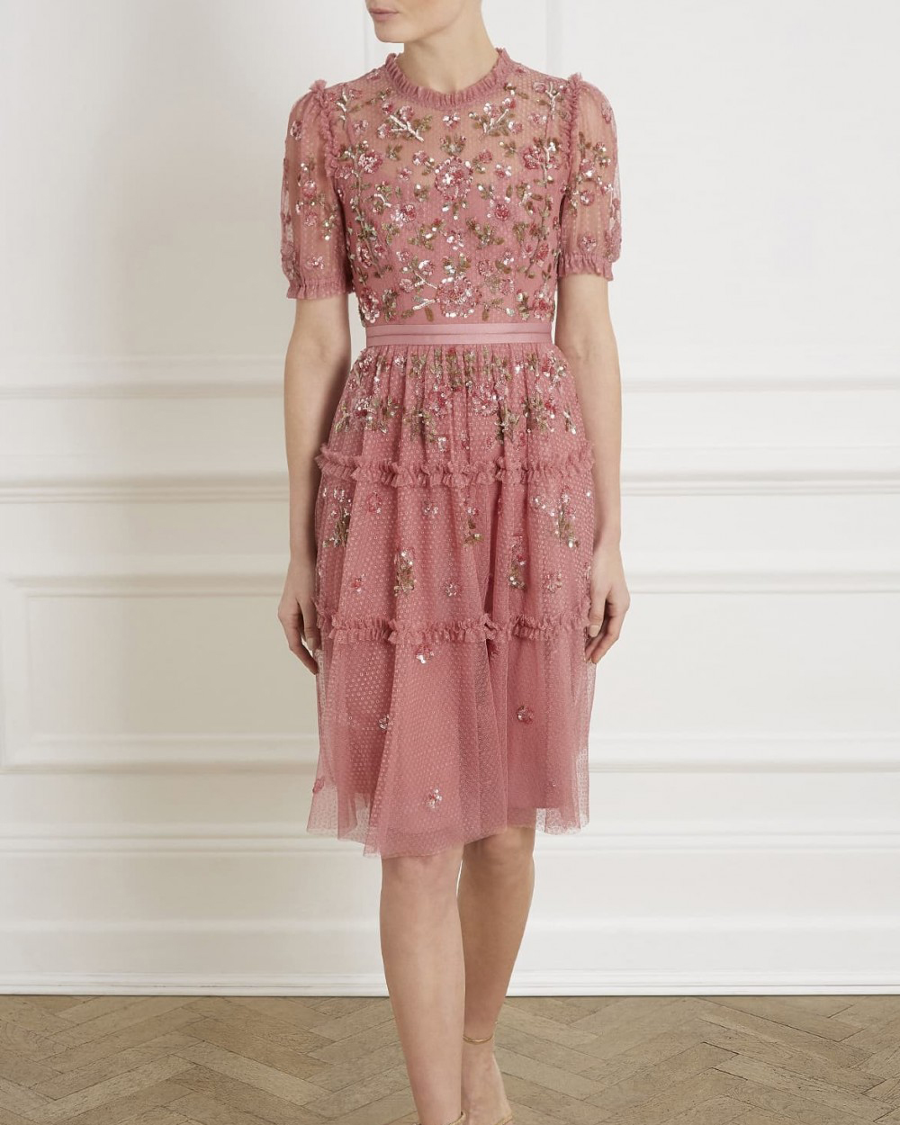 high neck puffed sleeve pink midi dress with sequin and floral embellishments