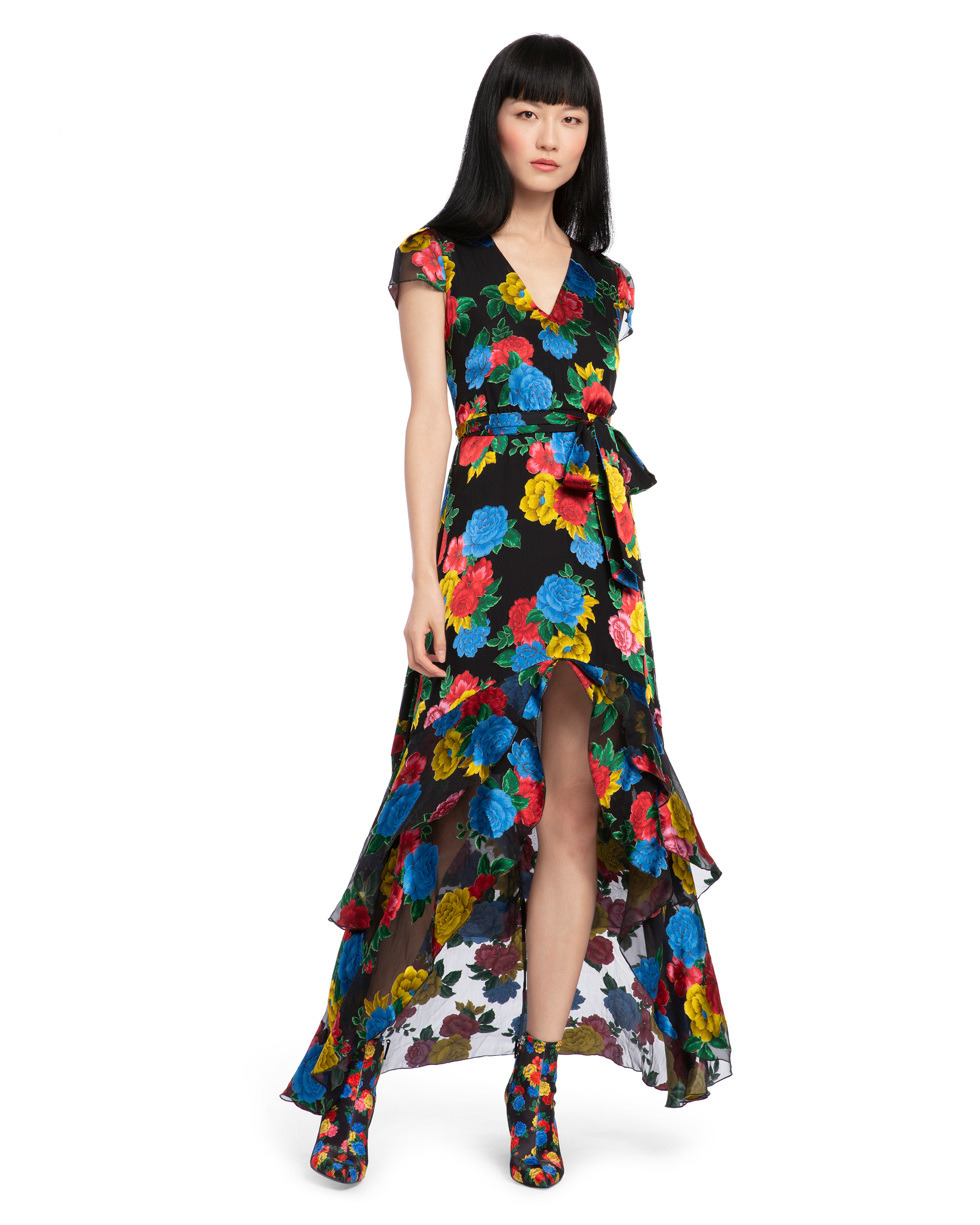 high-low long black dress with primary color floral print