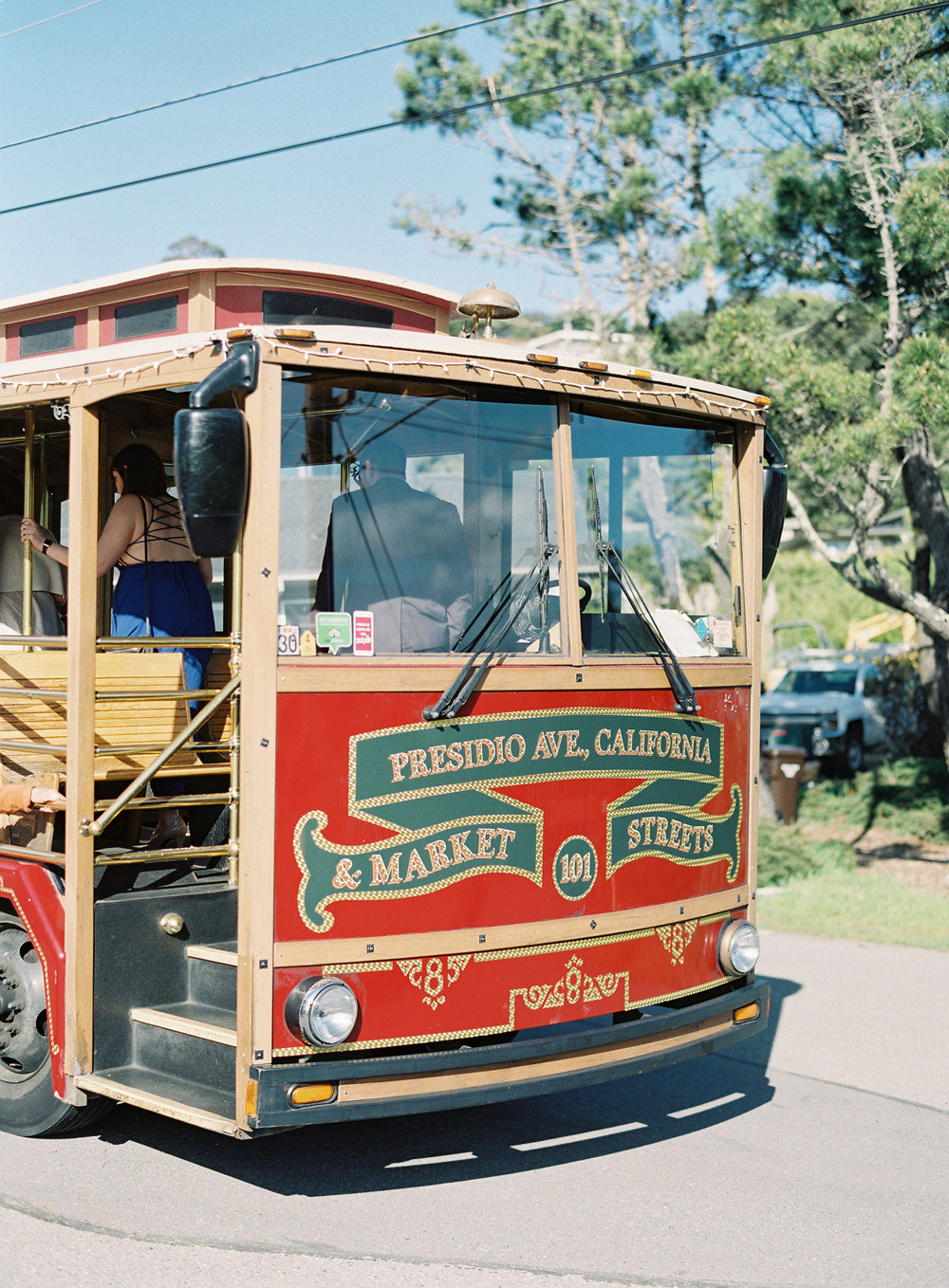 small red trolley for wedding transportation