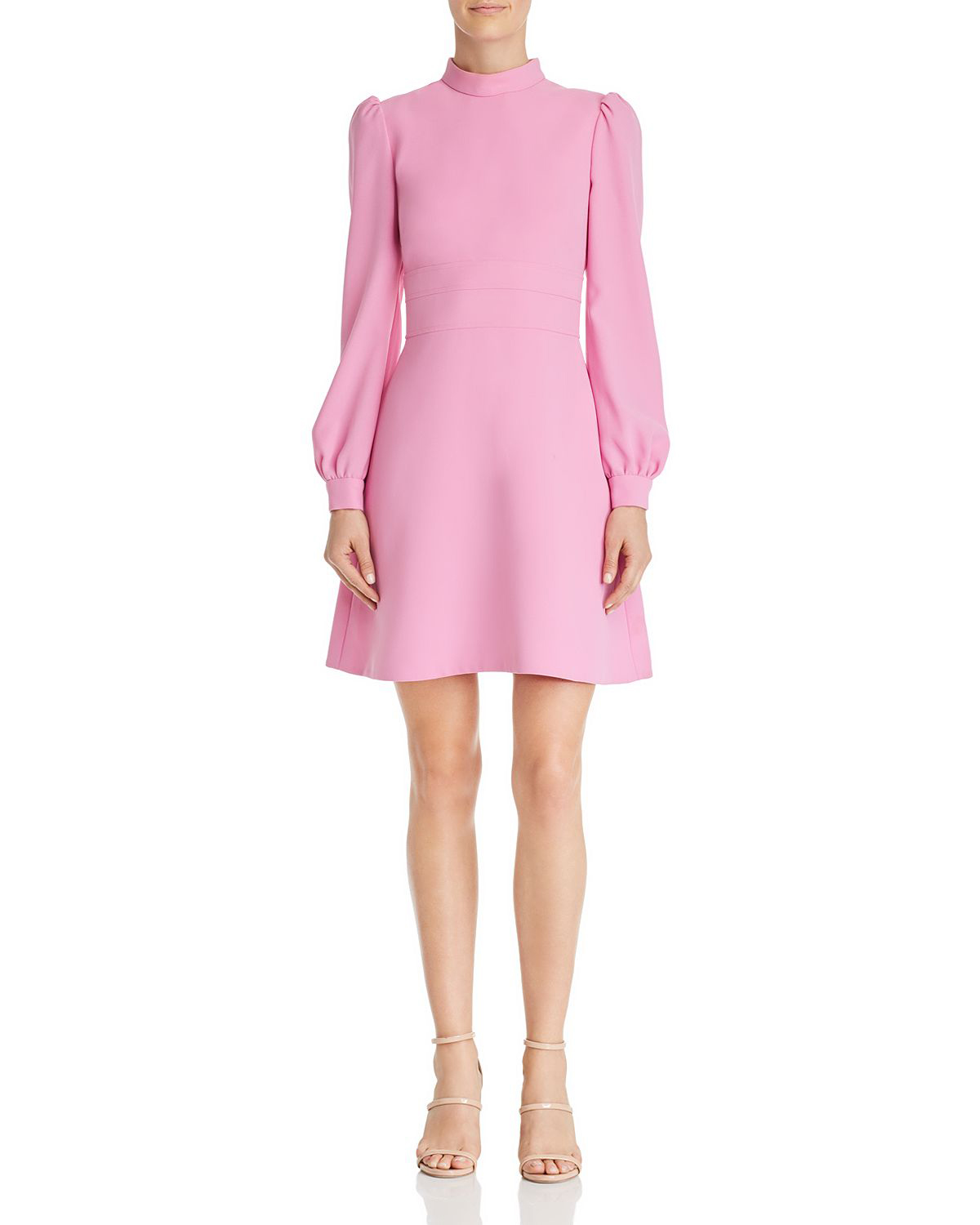 short sugar pink dress with balloon sleeve and high neck collar
