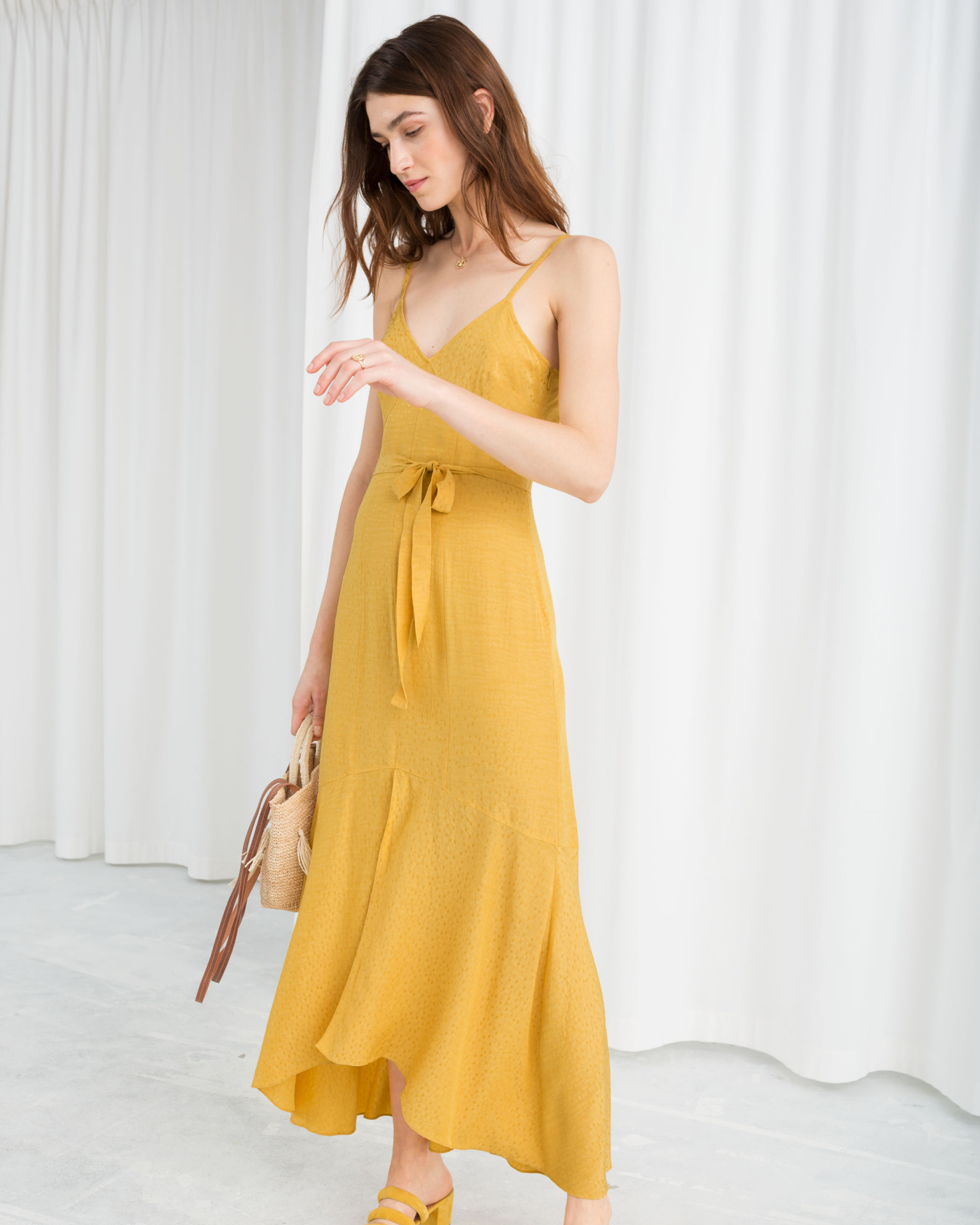 Yellow Fit and flare midi dress with waist belt and front slit