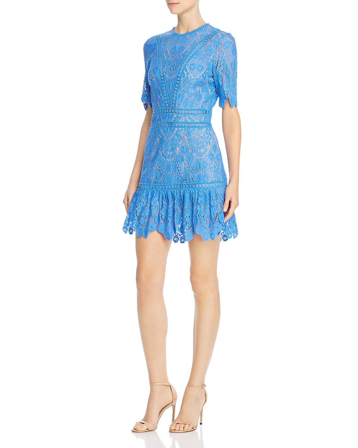 sky blue floral lace mini dress with crewneck and mid length sleeves