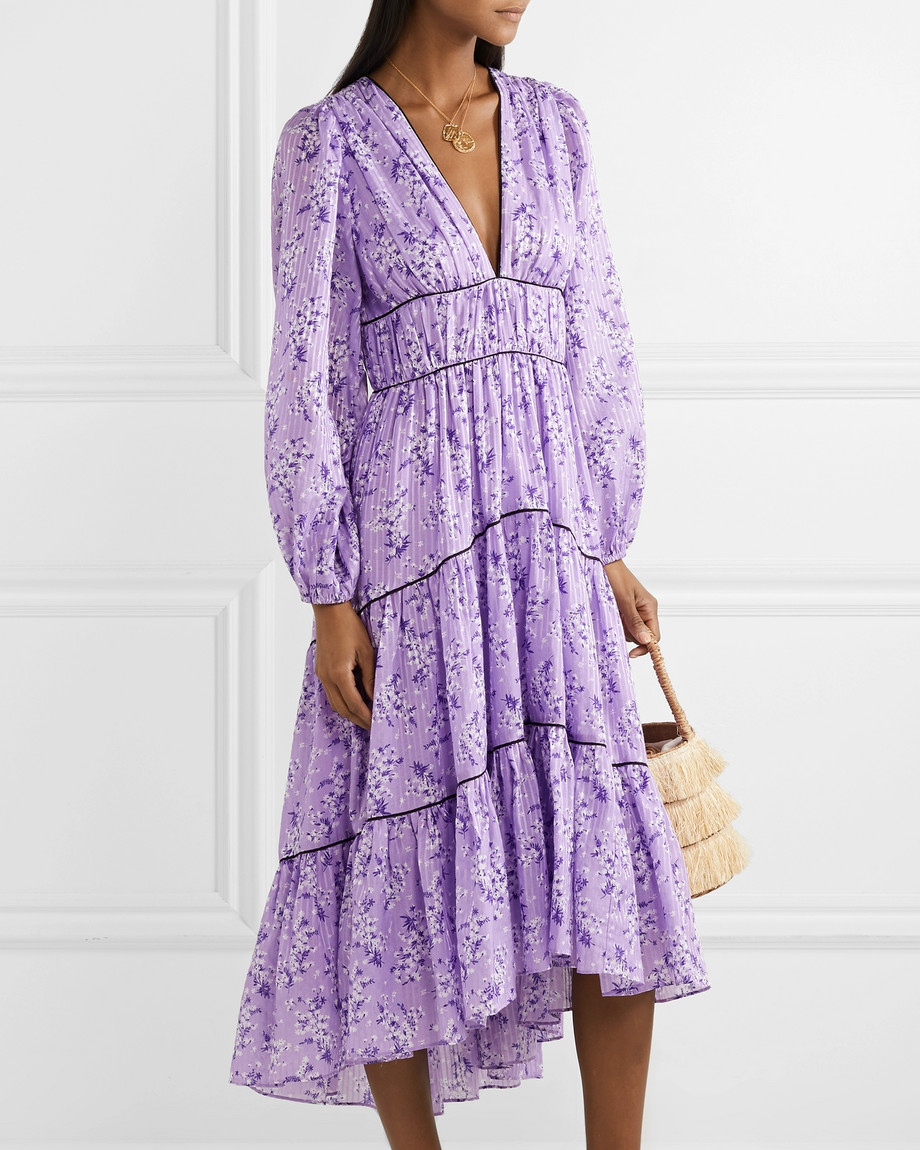 tiered floral-print cotton and silk-blend lilac midi dress