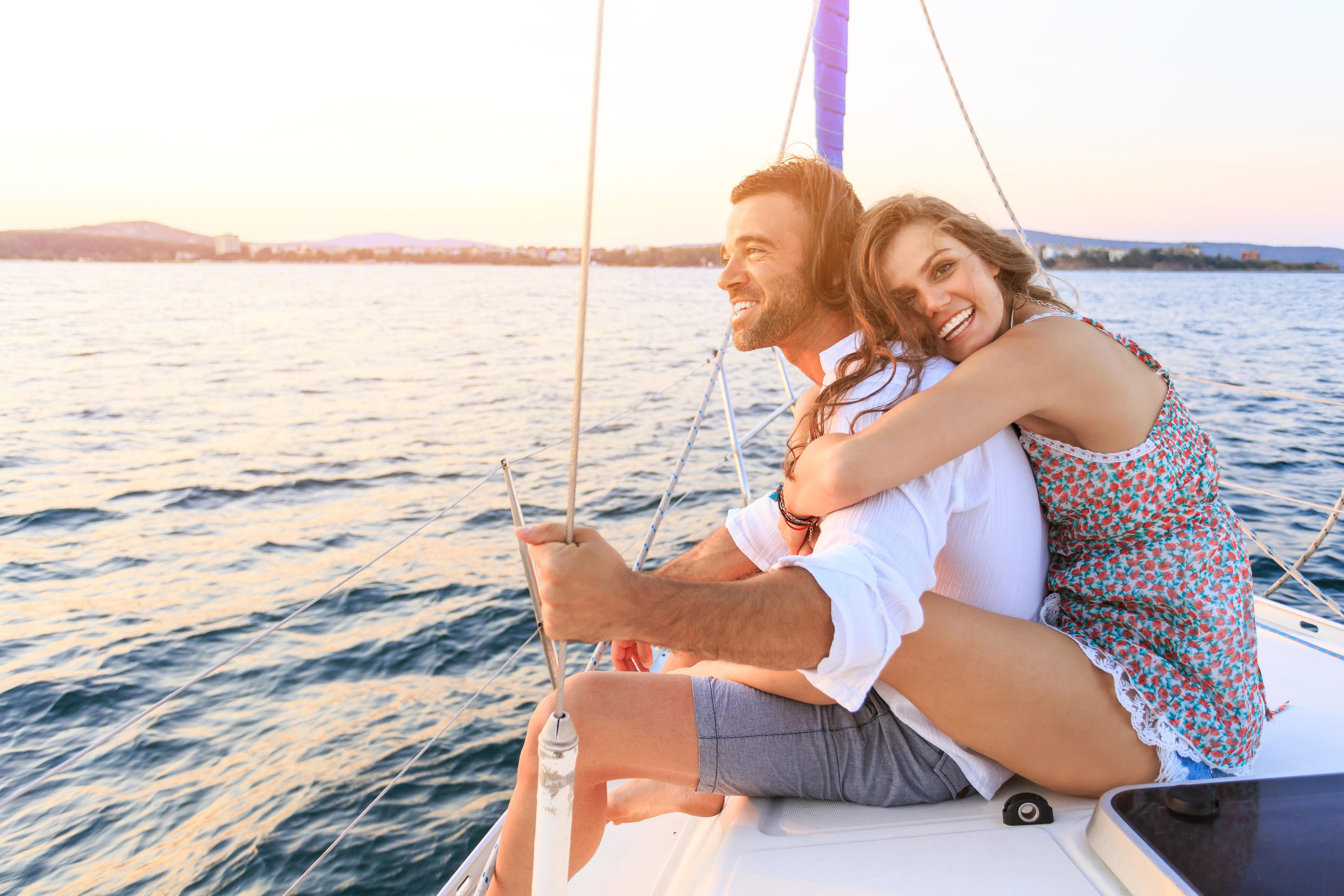 Honeymooners Smiling on Boat Ride