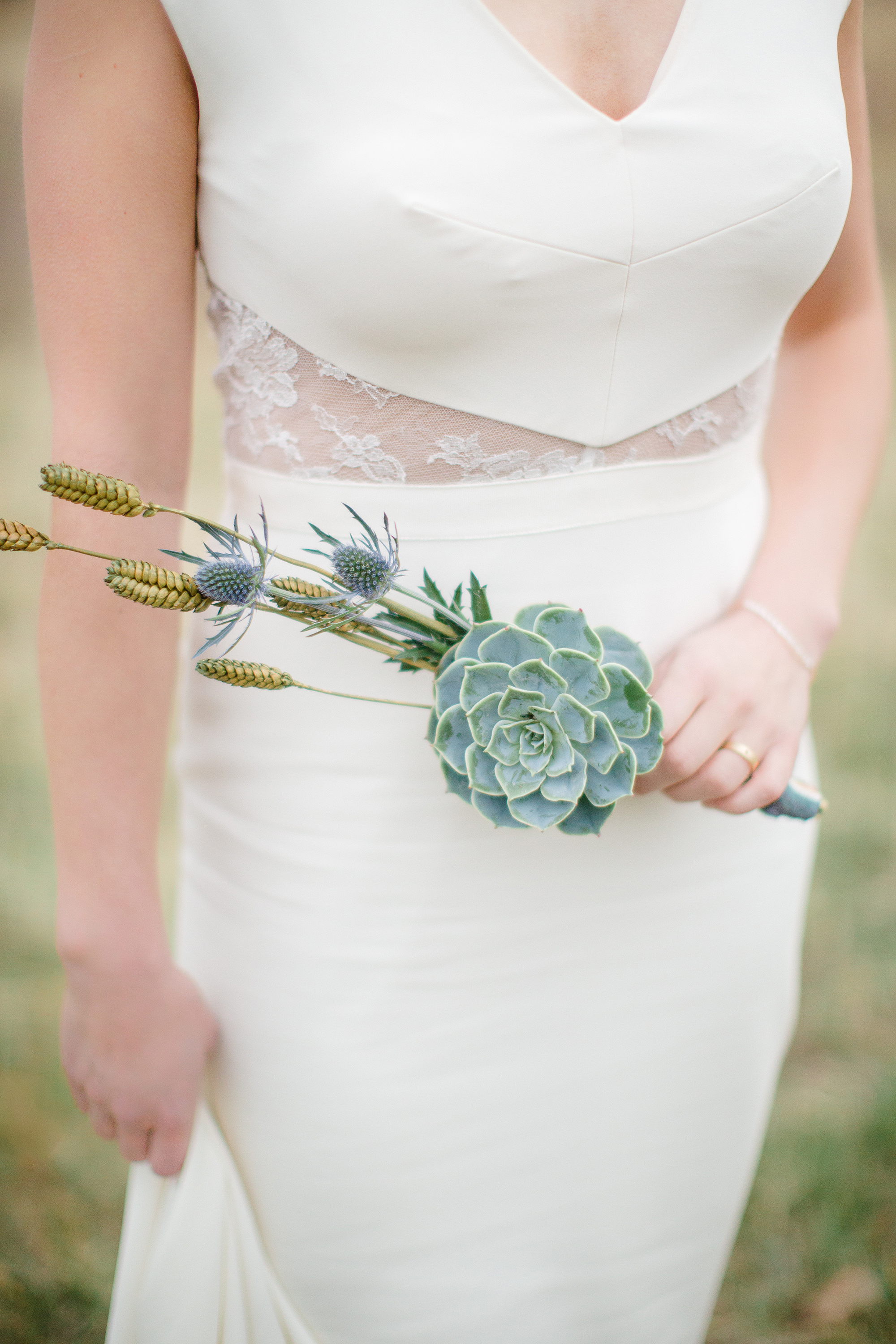 small bouquet with a single succulent