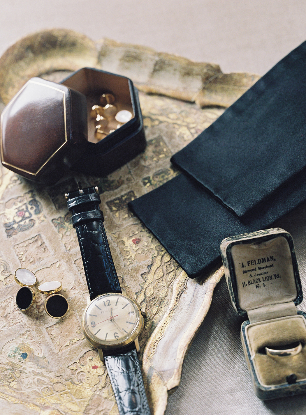 limited edition cufflinks, bow tie, watch groom accessories