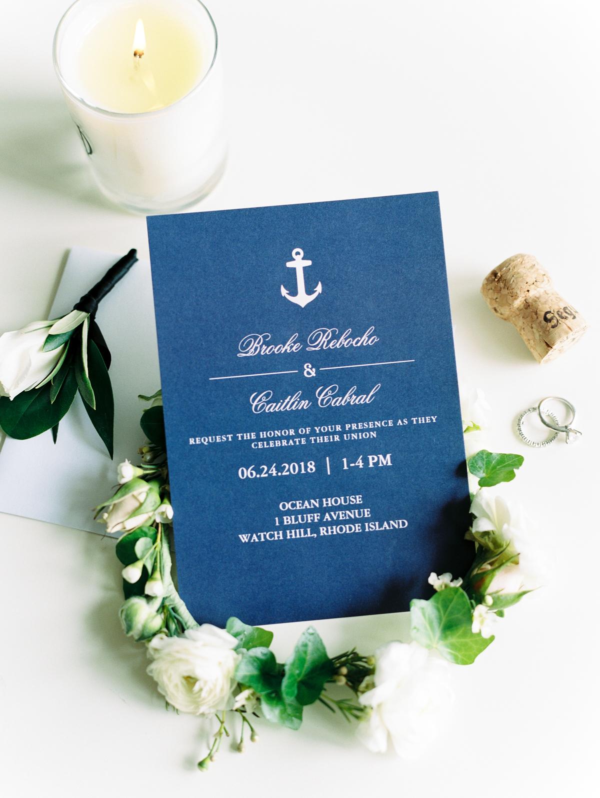 navy blue cardstock rose gold printing anchor design invitations