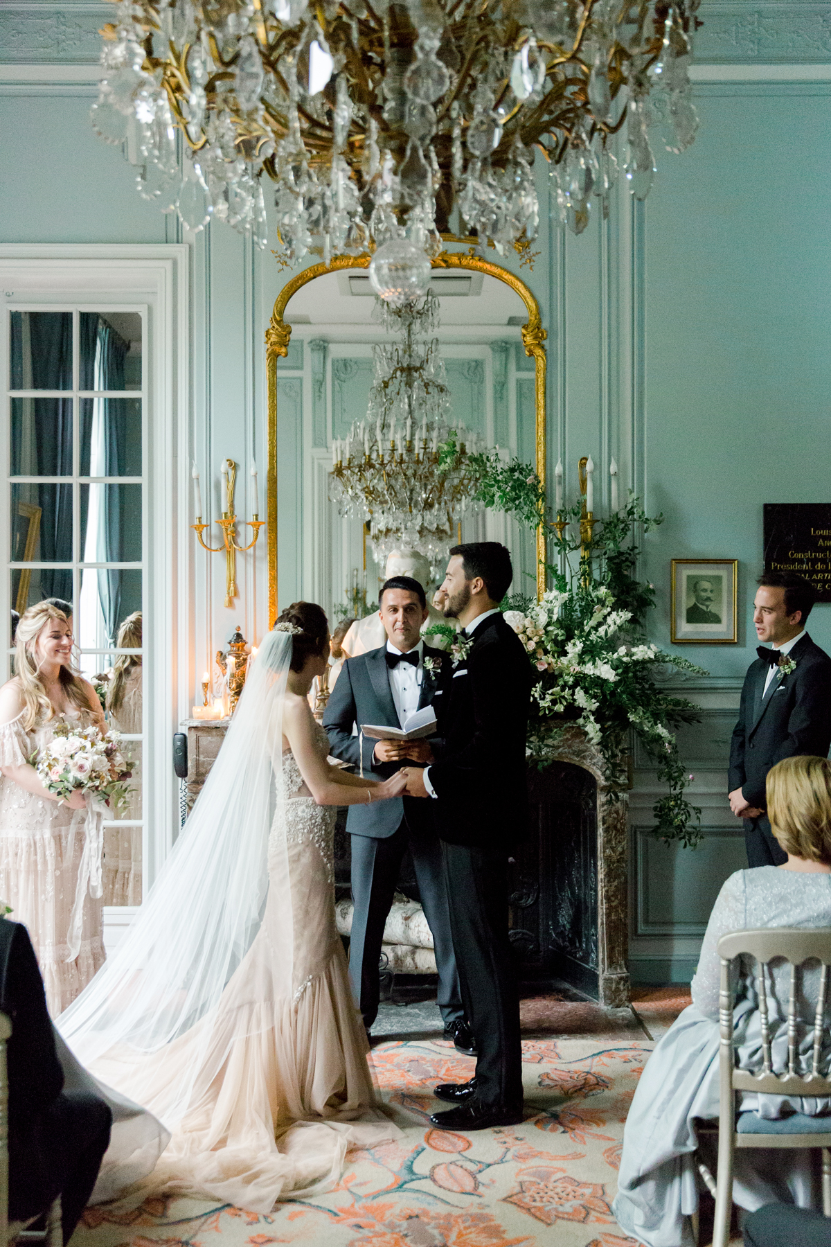 wedding ceremony in ornate parisian salon