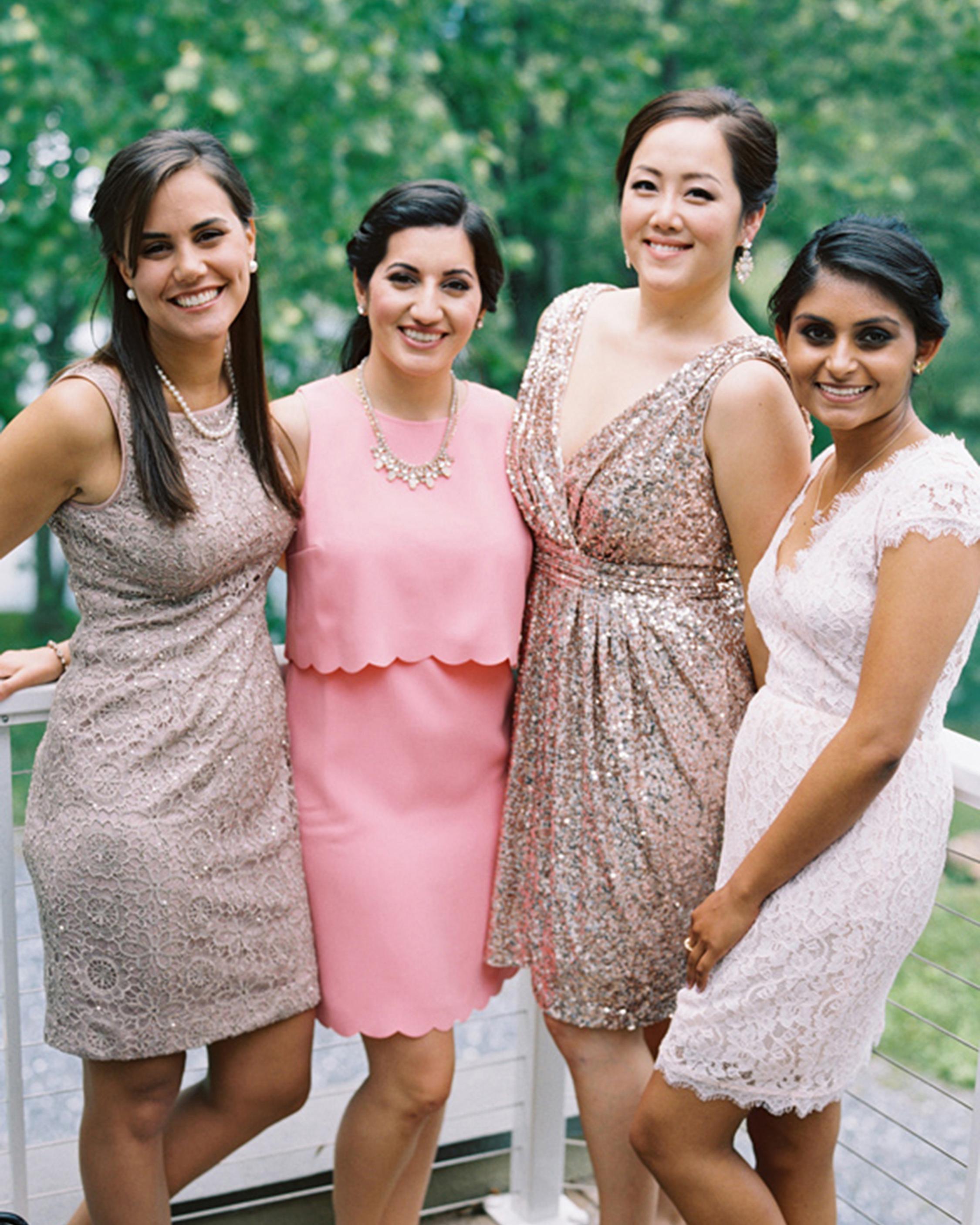 summer wedding guests color coordinated