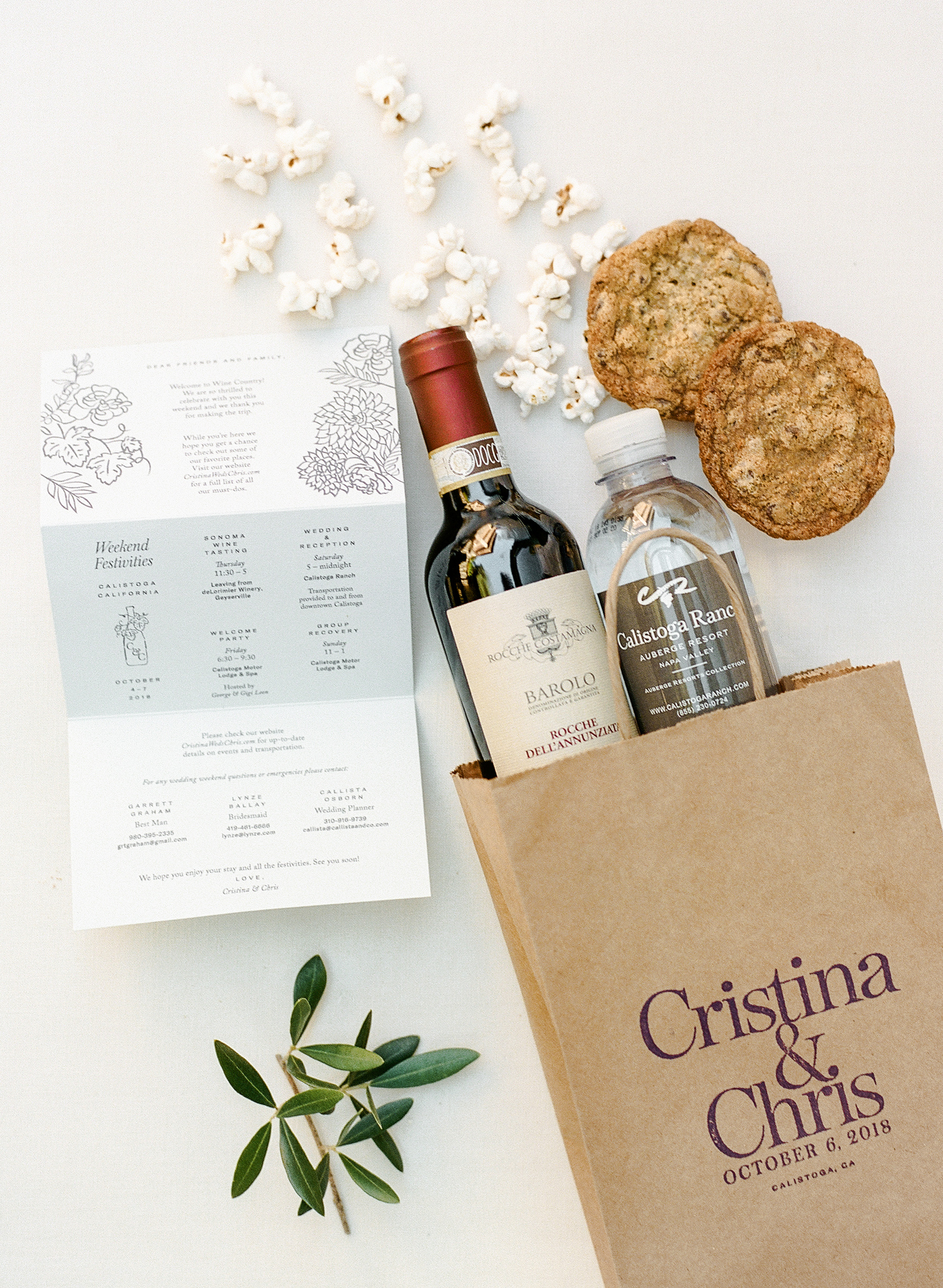 cristina chris wedding welcome bag
