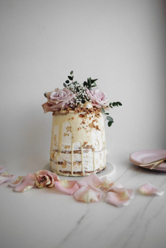 Coconut Glazed white wedding cake
