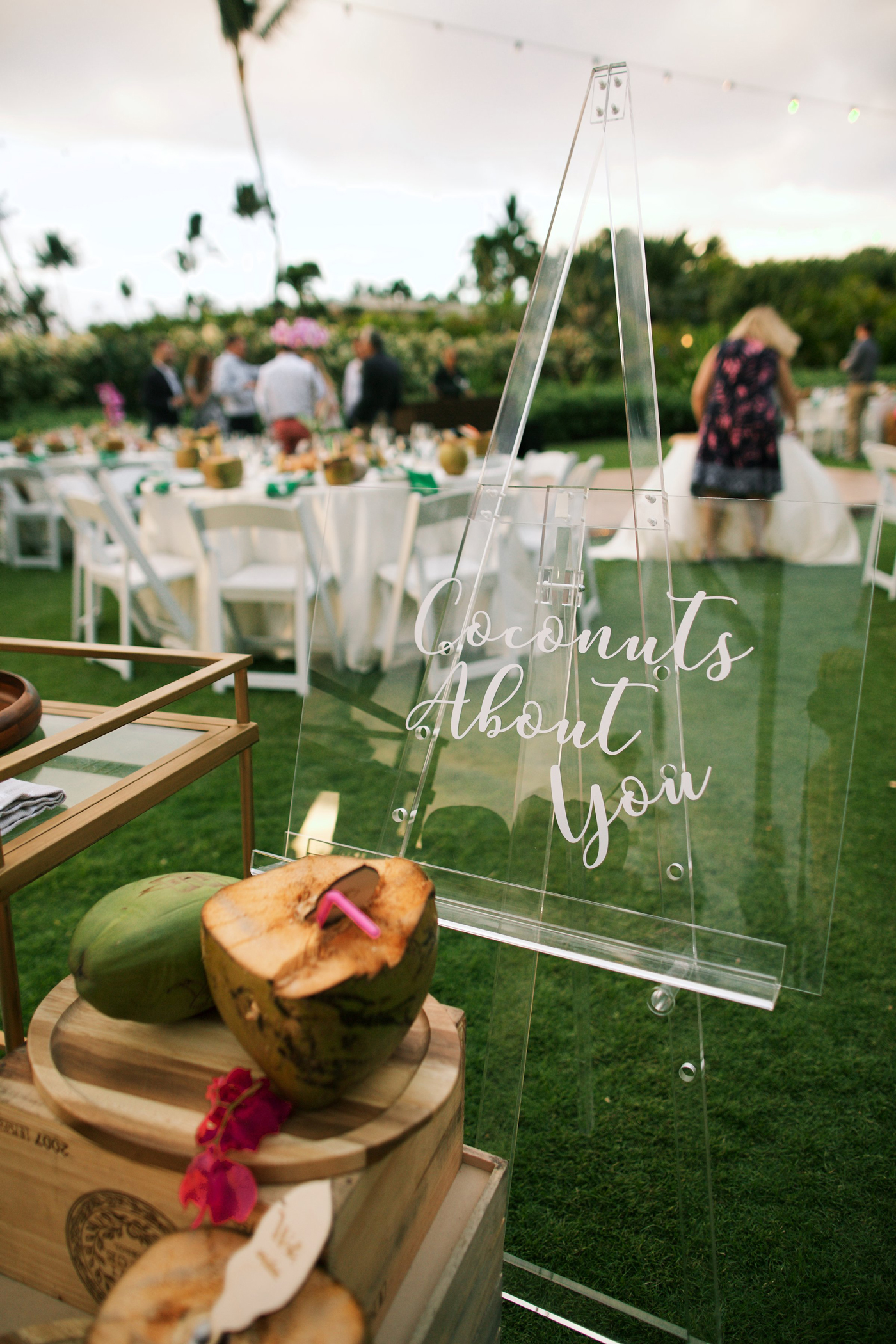"""acrylic sign calligraphed with """"Coconuts About You"""""""
