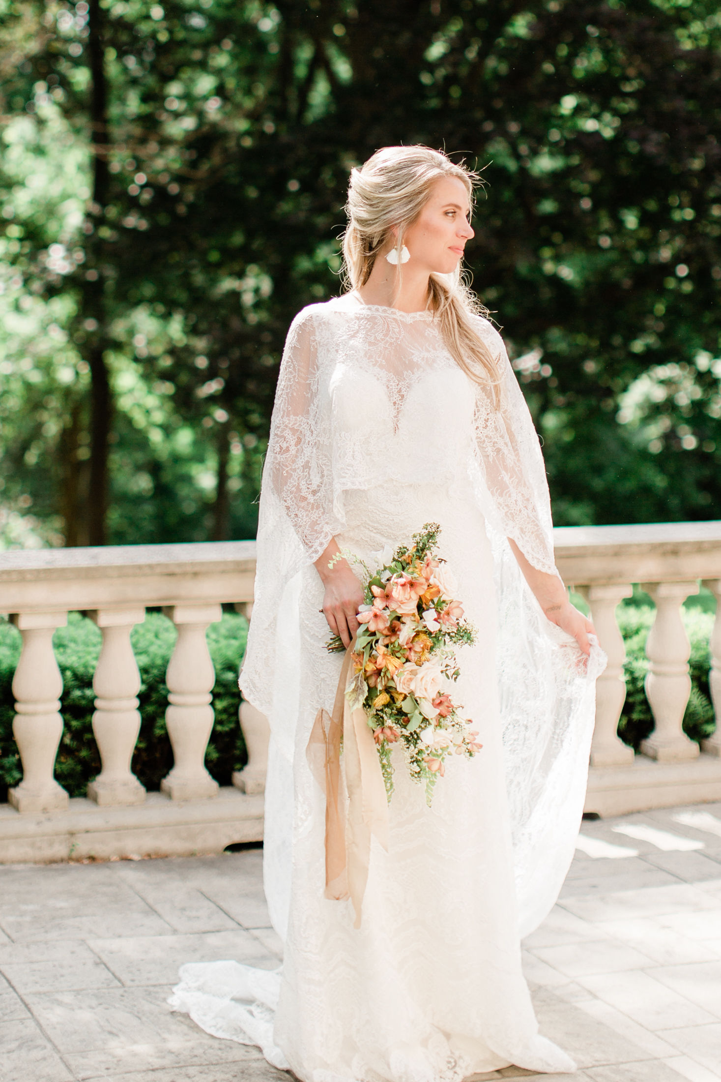 lace bridal cape