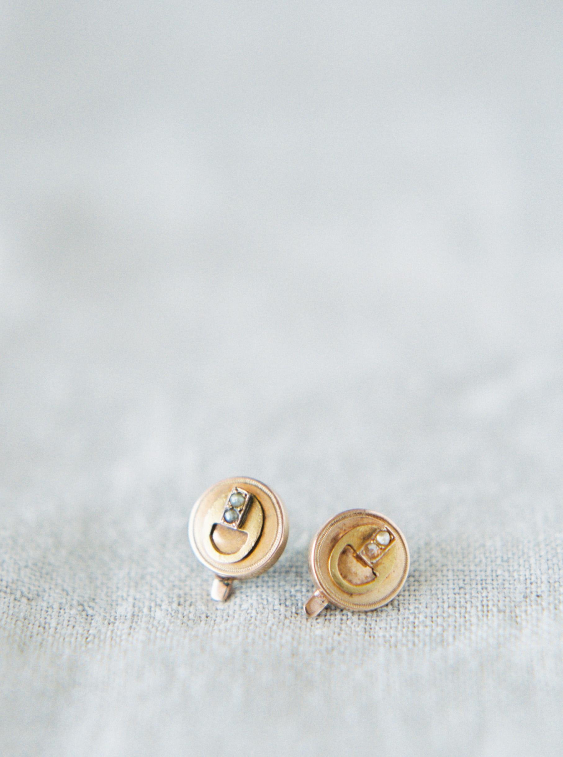 jeanette david wedding bride gold earrings