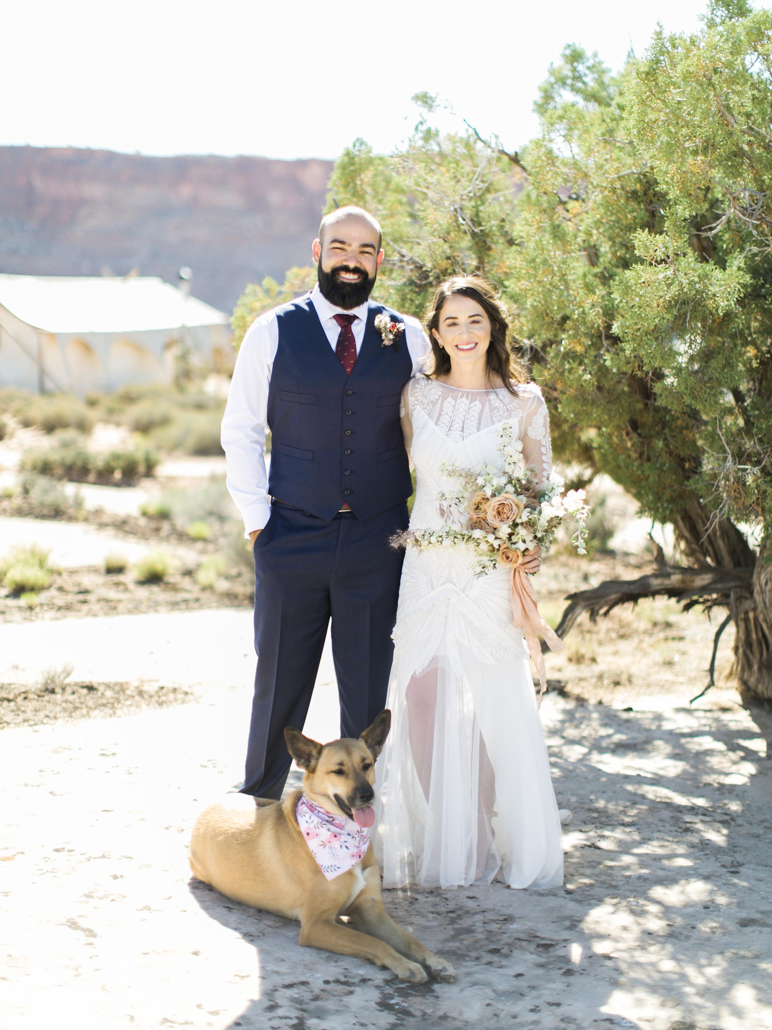 jeanette david wedding desert couple dog