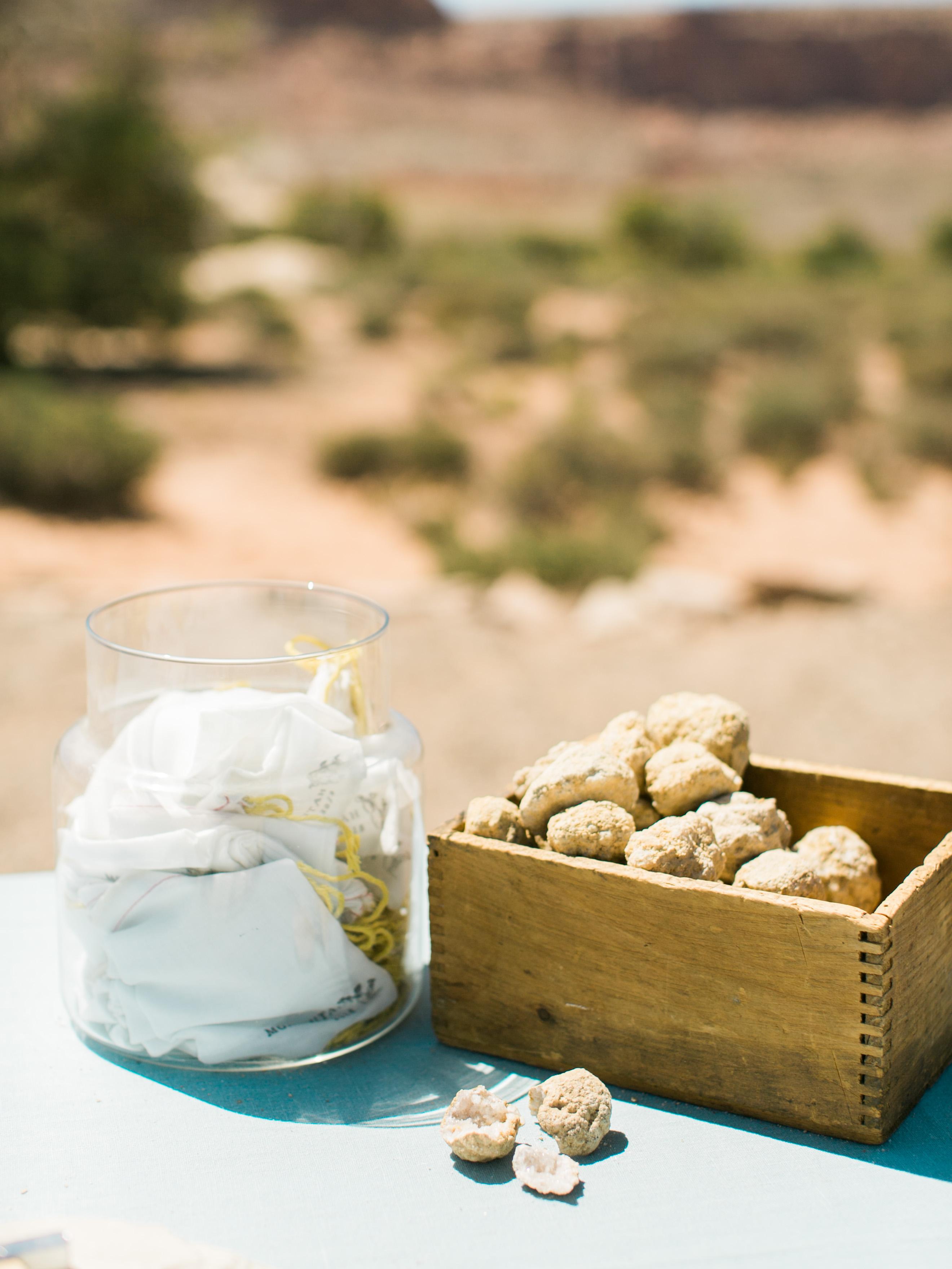 jeanette david wedding desert geodes in box by jar of paper