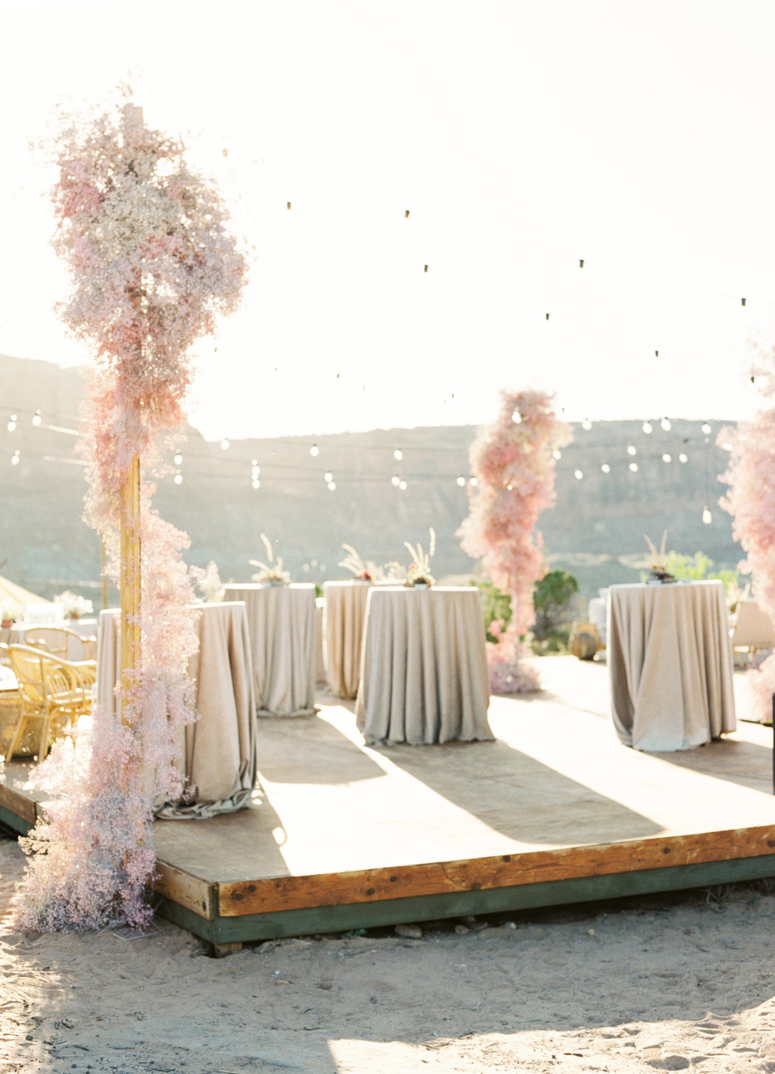 jeanette david wedding reception standing tables string lights
