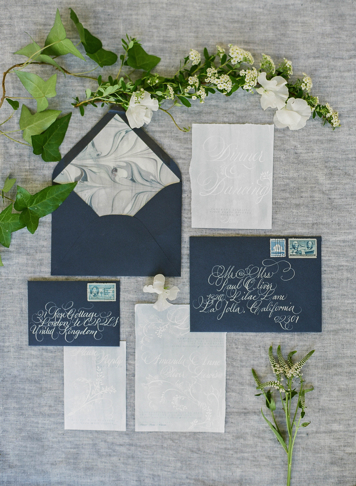 navy and off white marble stationary wedding invites