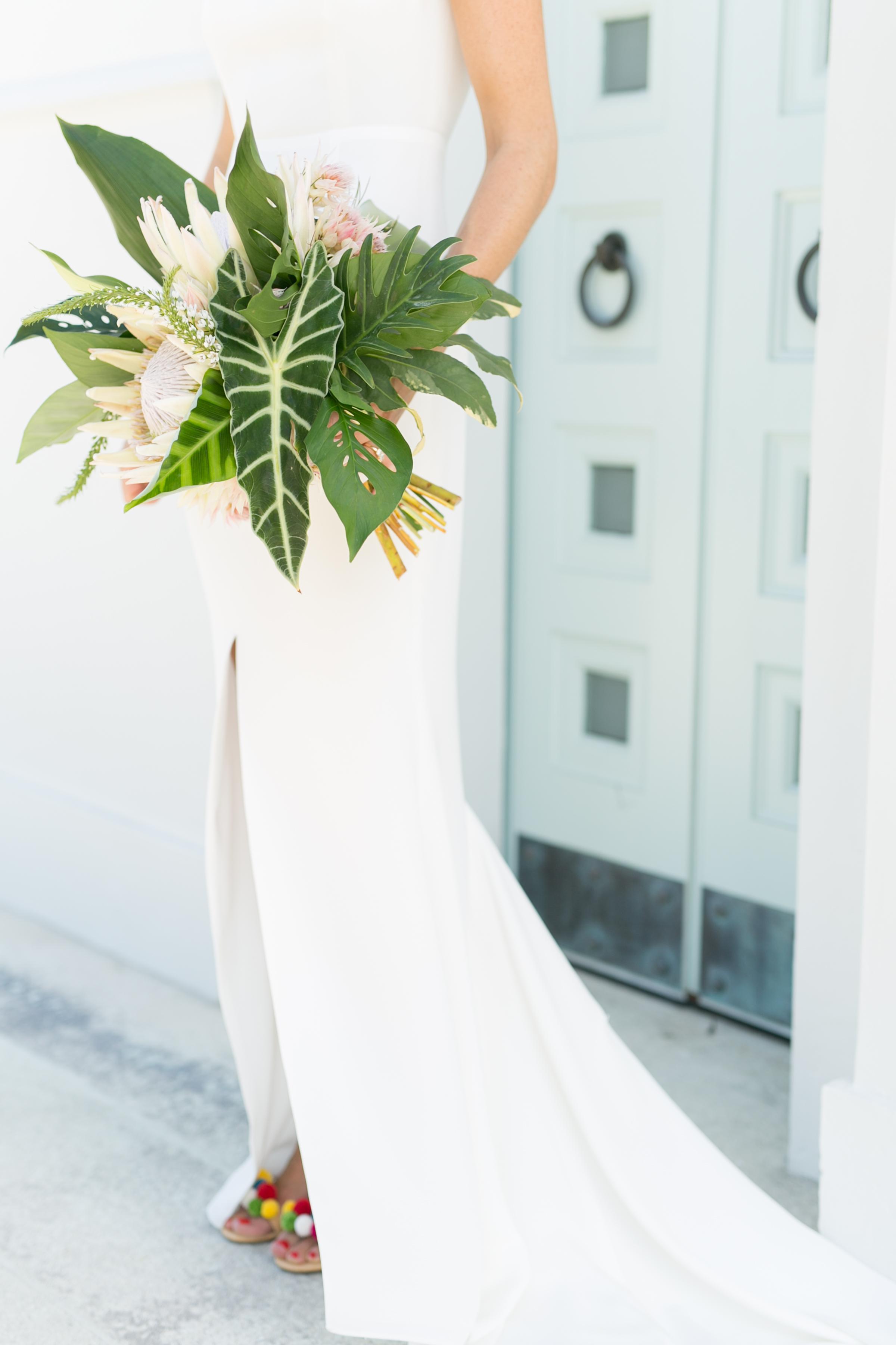 King Protea Arrangement tropical leaf bouquet