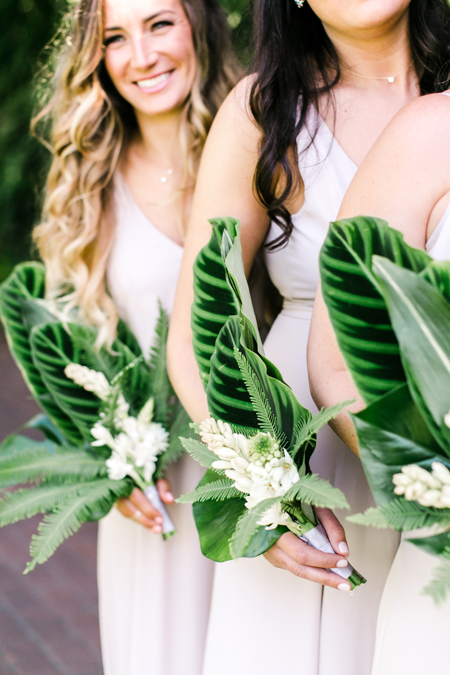 tropical leaf Framed White Florals bouquet