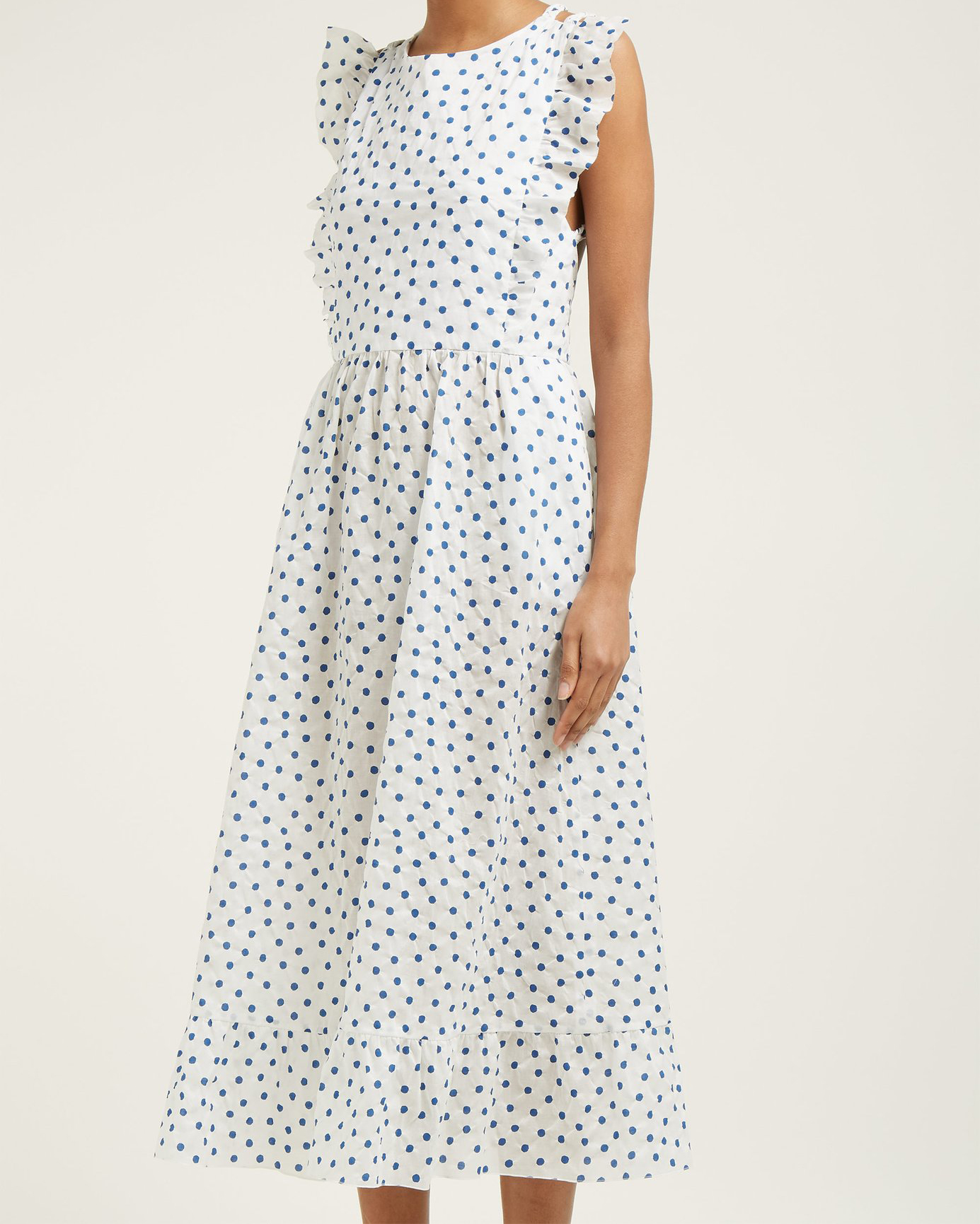 blue polka dot cotton midi dress