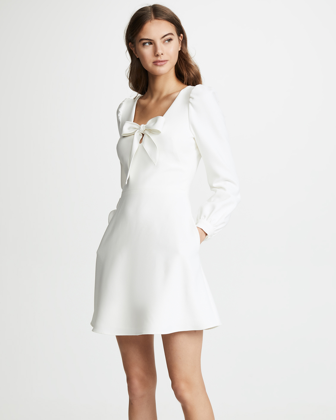 white long sleeve mini dress with bow