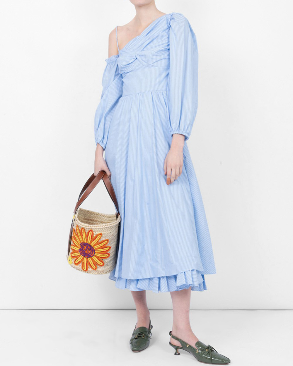 asymmetrical blue pinstripe alexa chung dress
