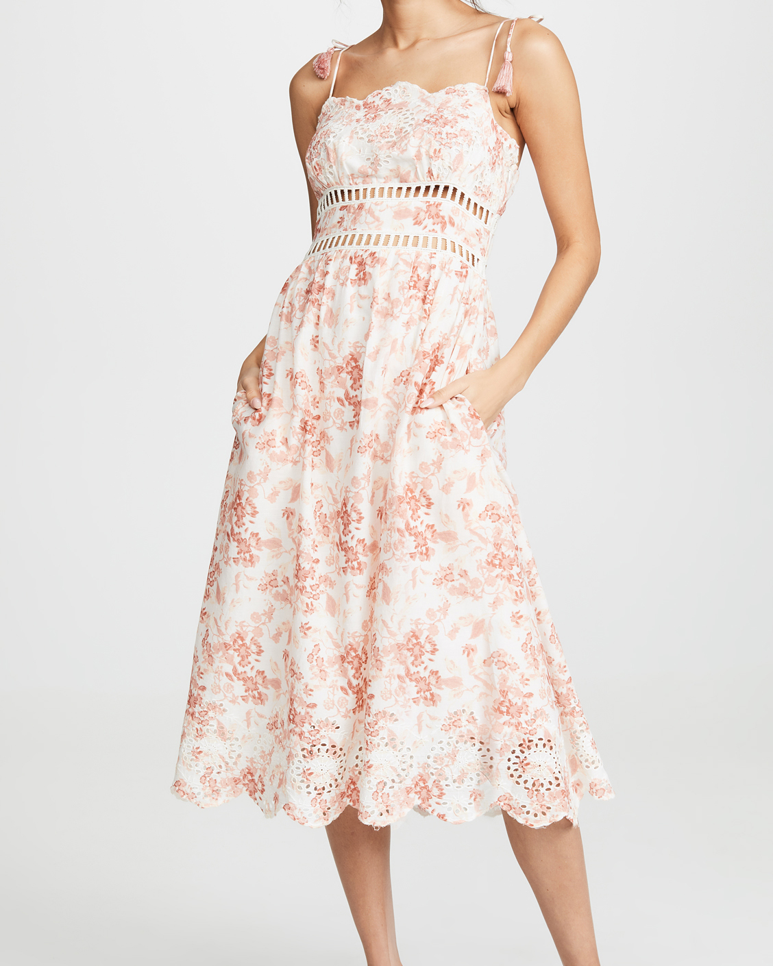 spaghetti strap floral pattern dress with pockets