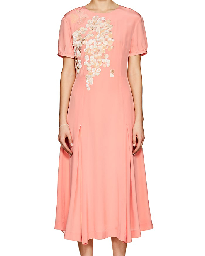coral embroidered silk midi dress