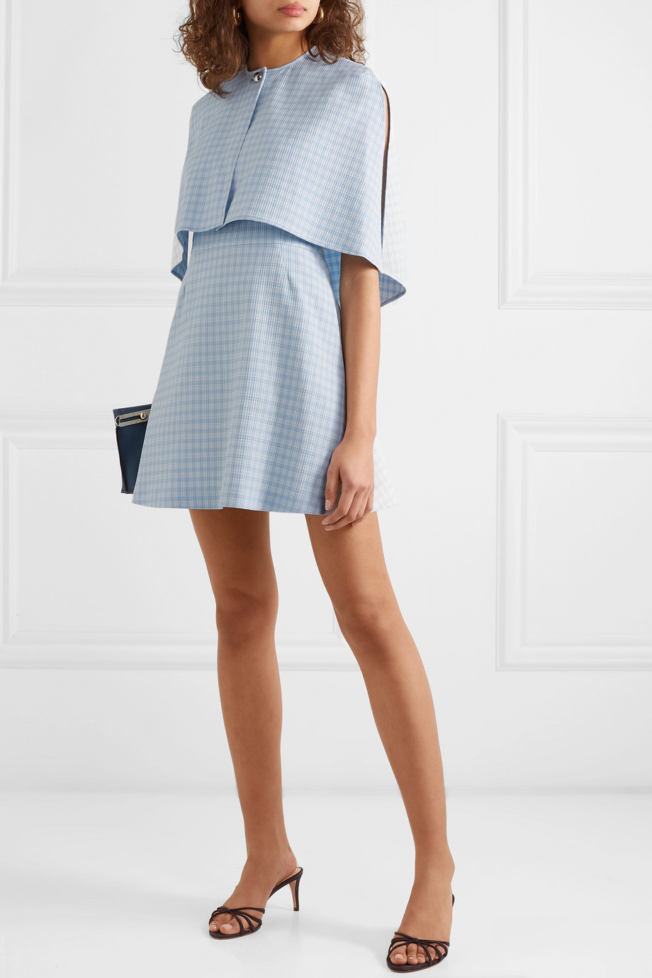 baby blue plaid Cape Effect Cloqué Mini Dress