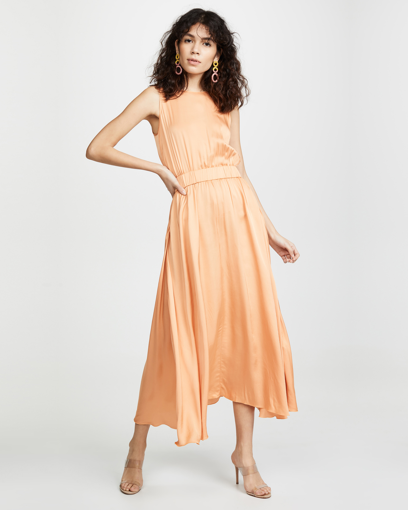 high neck peach midi dress